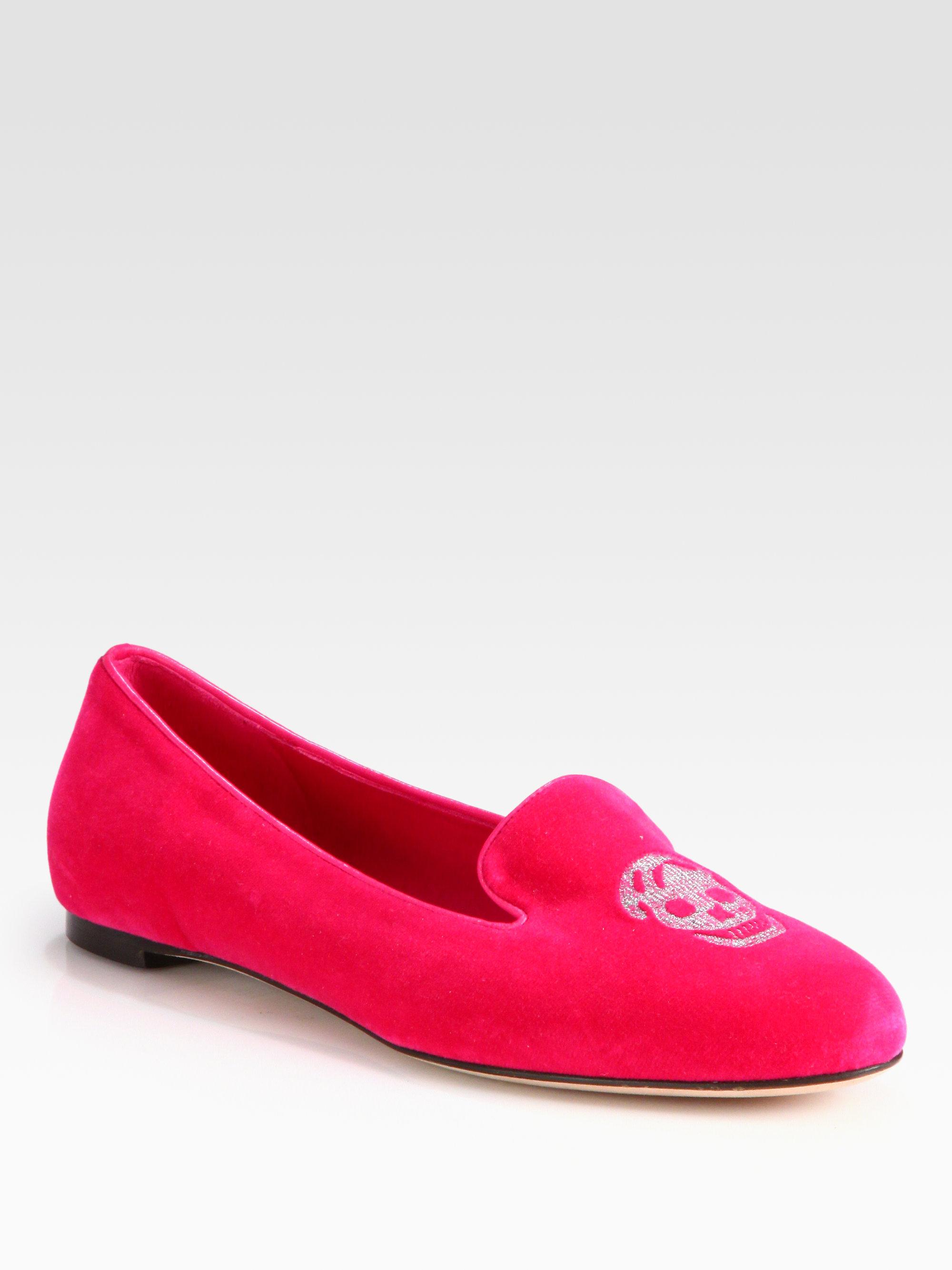 1658bd98f7747 Shoeniverse: ALEXANDER MCQUEEN Pink Velvet Skull Smoking Slippers