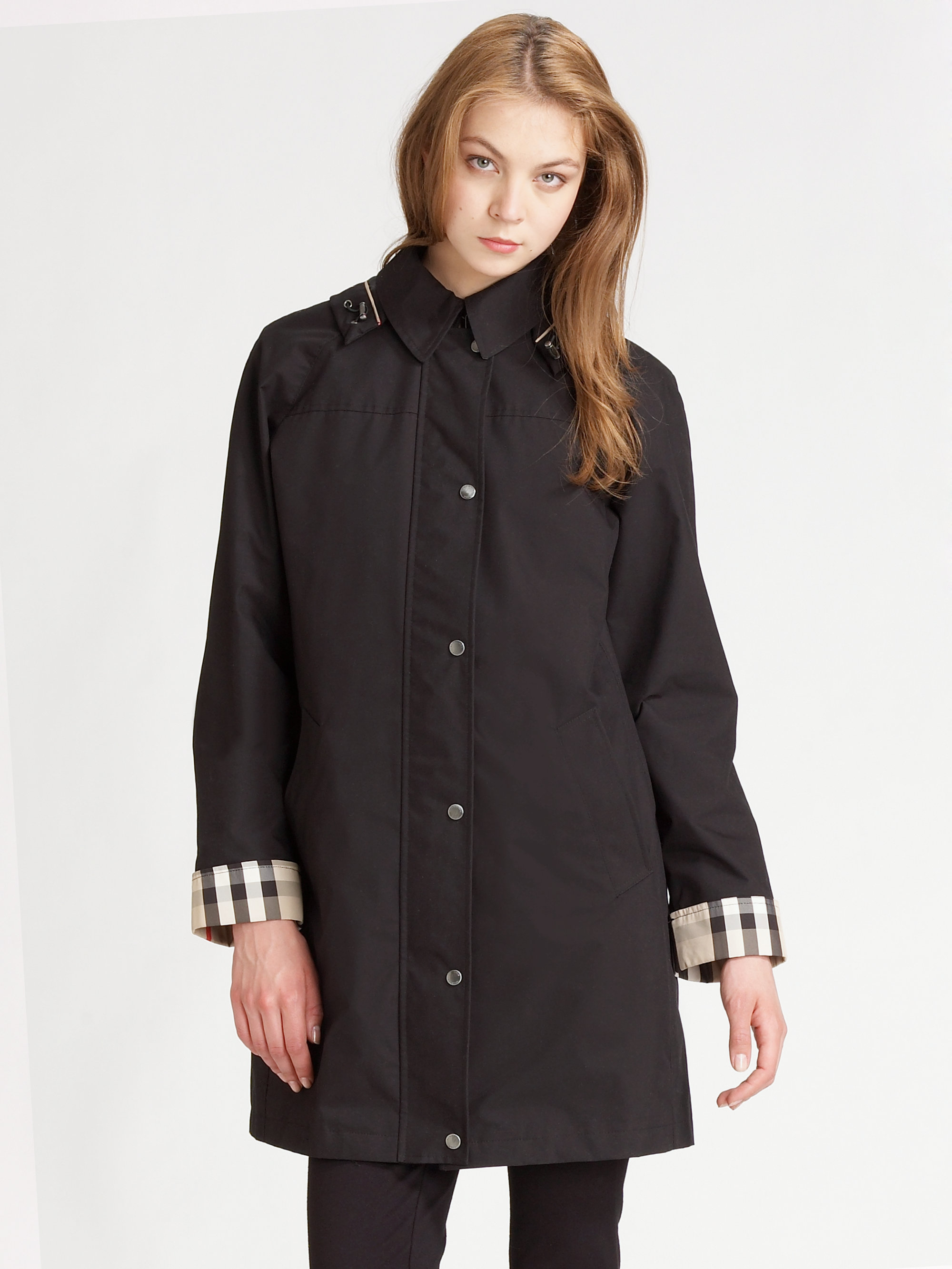 Burberry Brit Hooded Raincoat with Warmer in Black