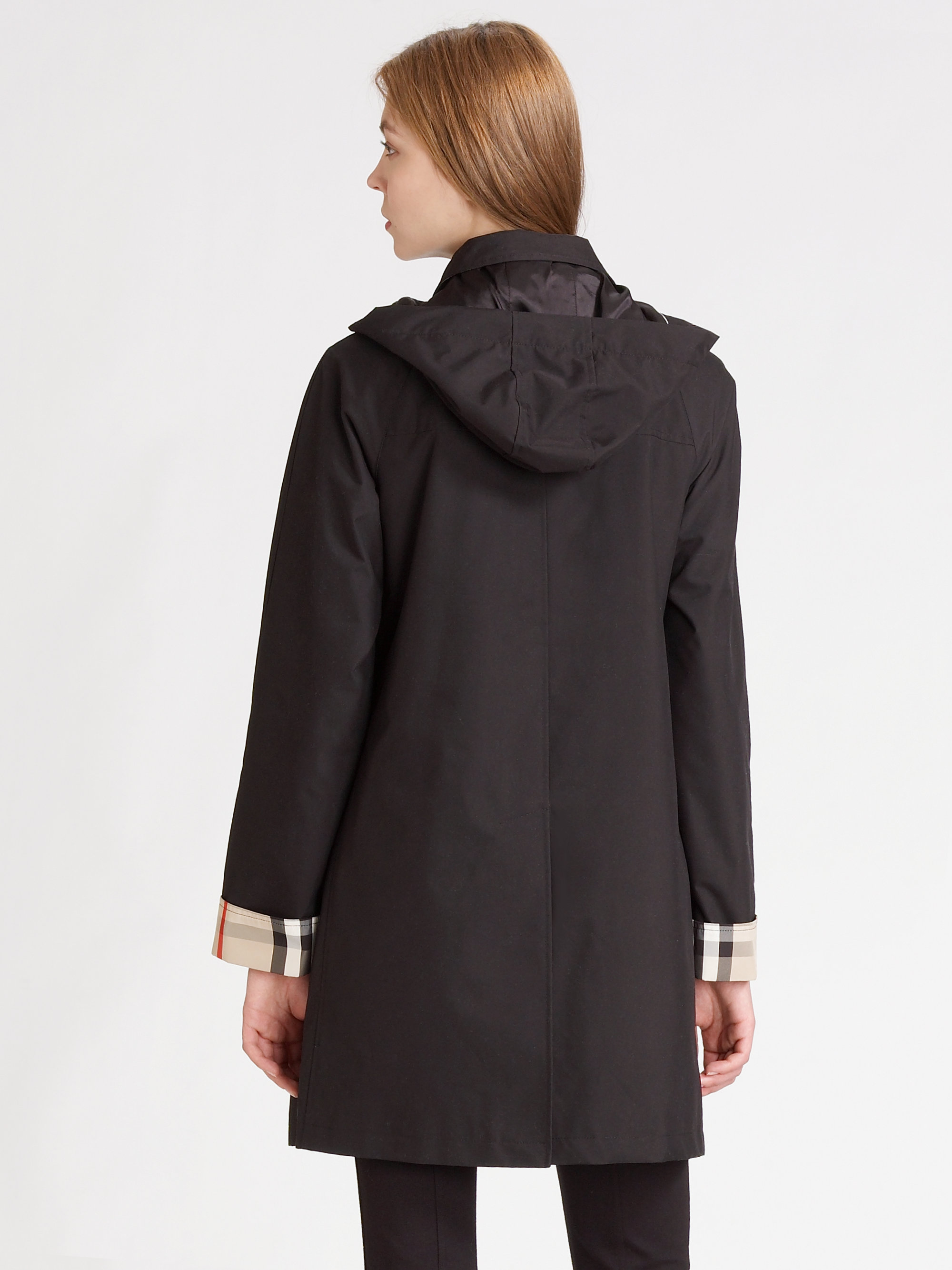 Burberry brit Hooded Raincoat with Warmer in Black | Lyst