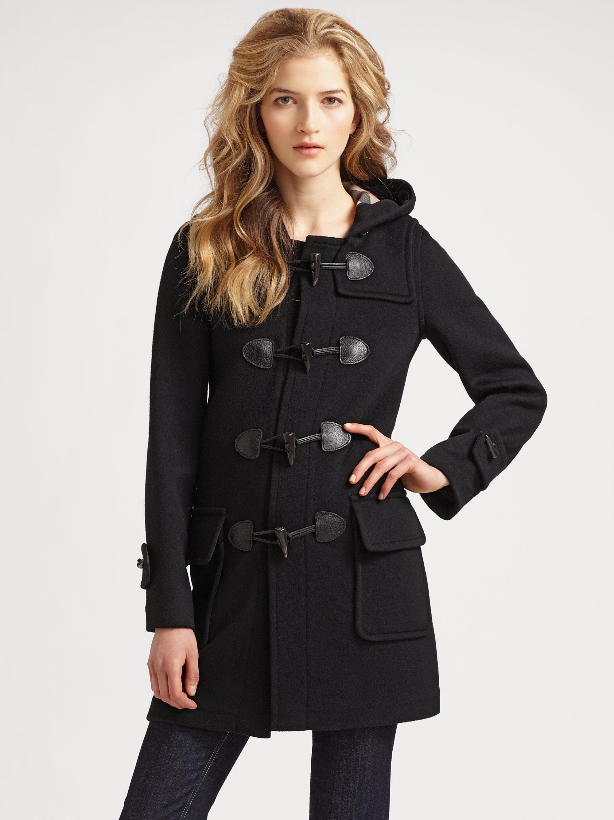 Burberry Brit Wool Duffle Coat In Black Lyst
