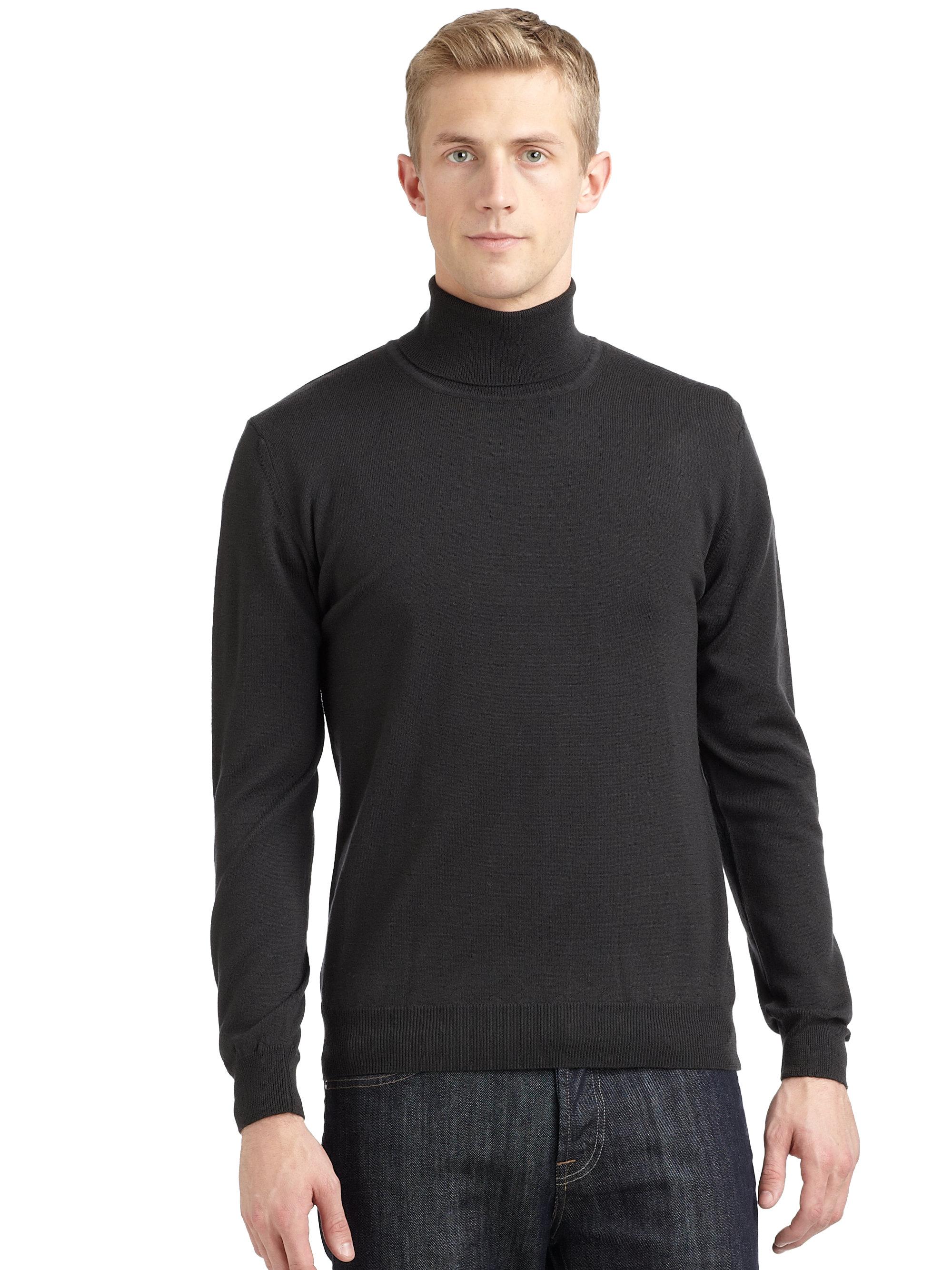 calvin klein merino wool turtleneck sweater in blue for. Black Bedroom Furniture Sets. Home Design Ideas