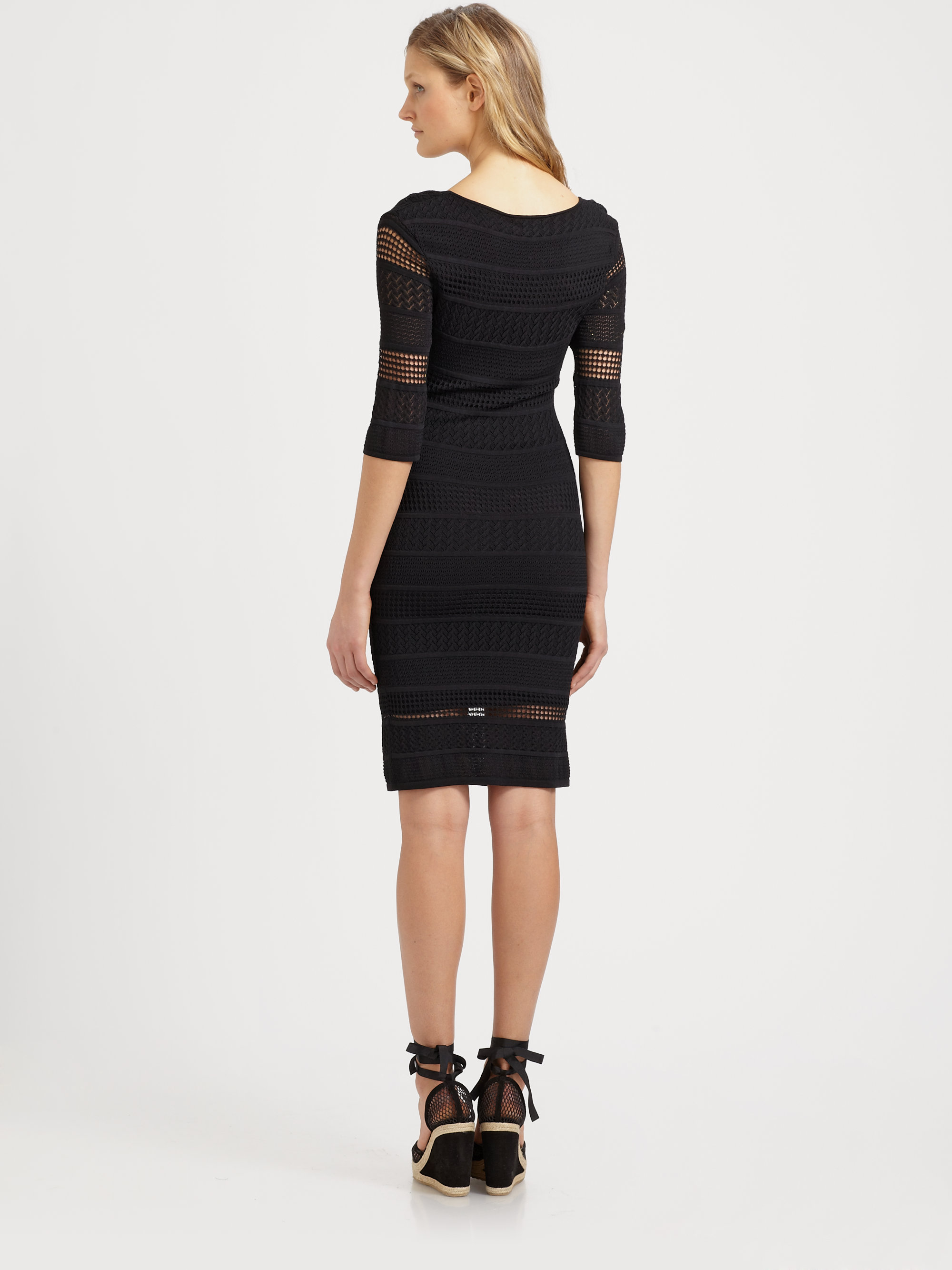 Lyst - Catherine Malandrino Pointelle Knit Dress in Black cd4db2327e7
