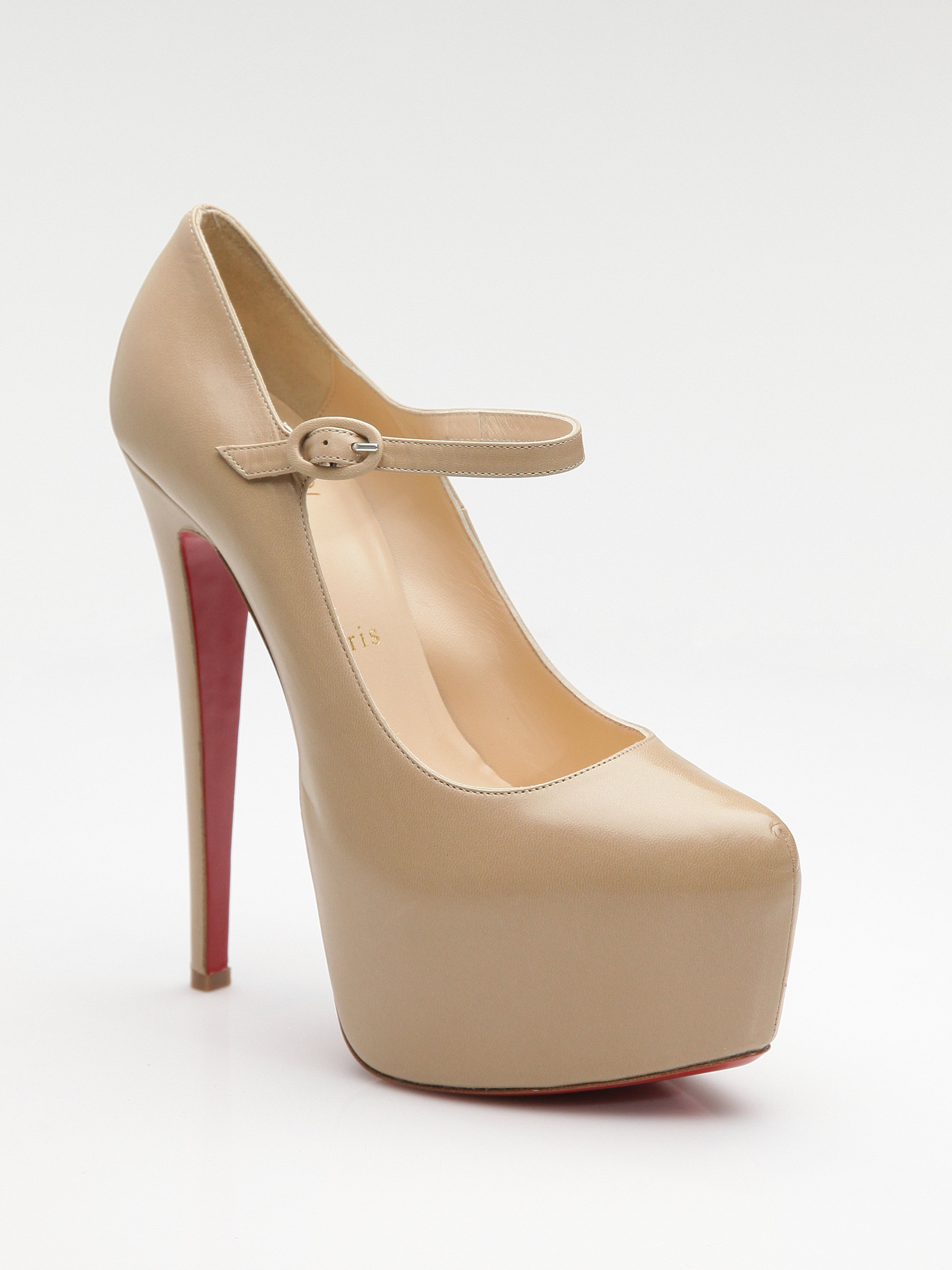 christian louboutin mary jane pumps lady daf 160 beige
