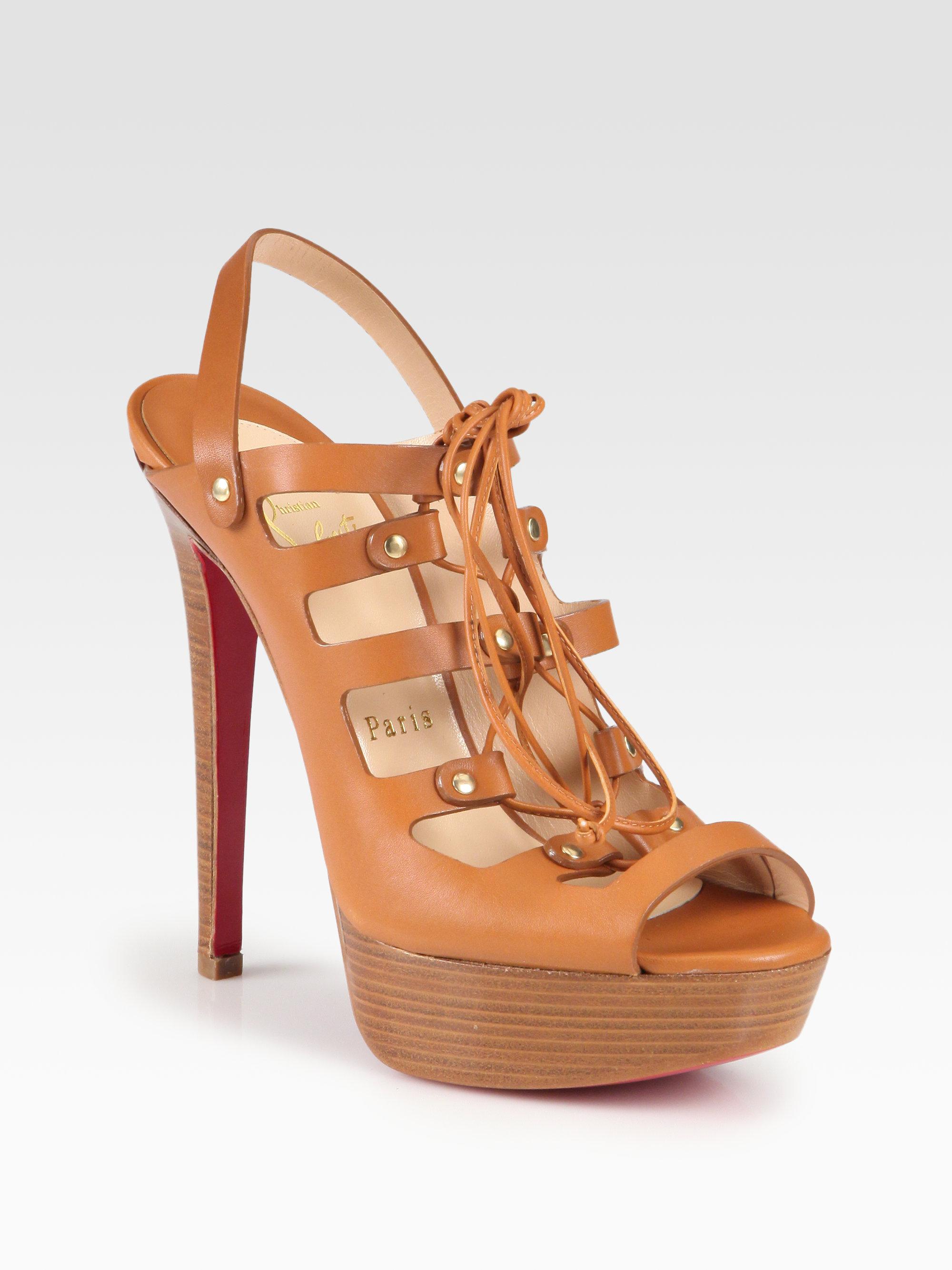 louboutin knockoffs - christian louboutin sandals Tan leather - Bbridges