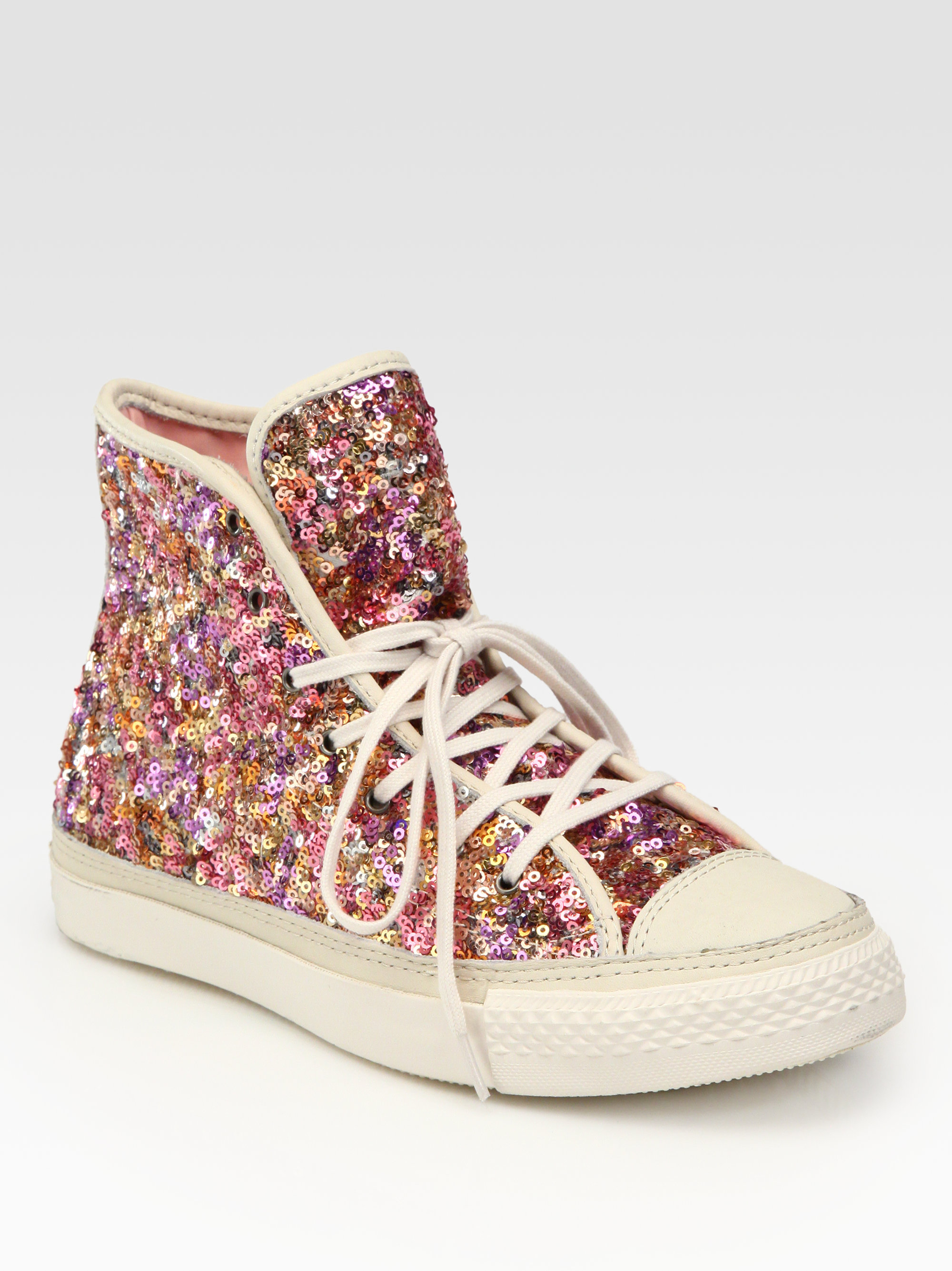 ... wholesale lyst converse sequin hightop sneakers in pink b4058 2bb04 b72c01781