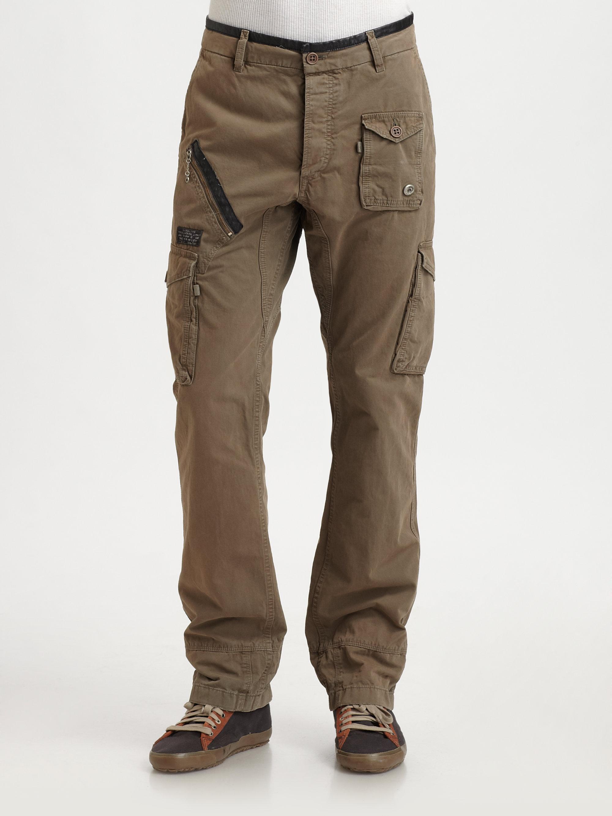 lyst diesel military cargo pants in green for men