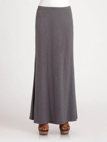 eileen fisher slub hemp cotton maxi skirt in gray ash lyst