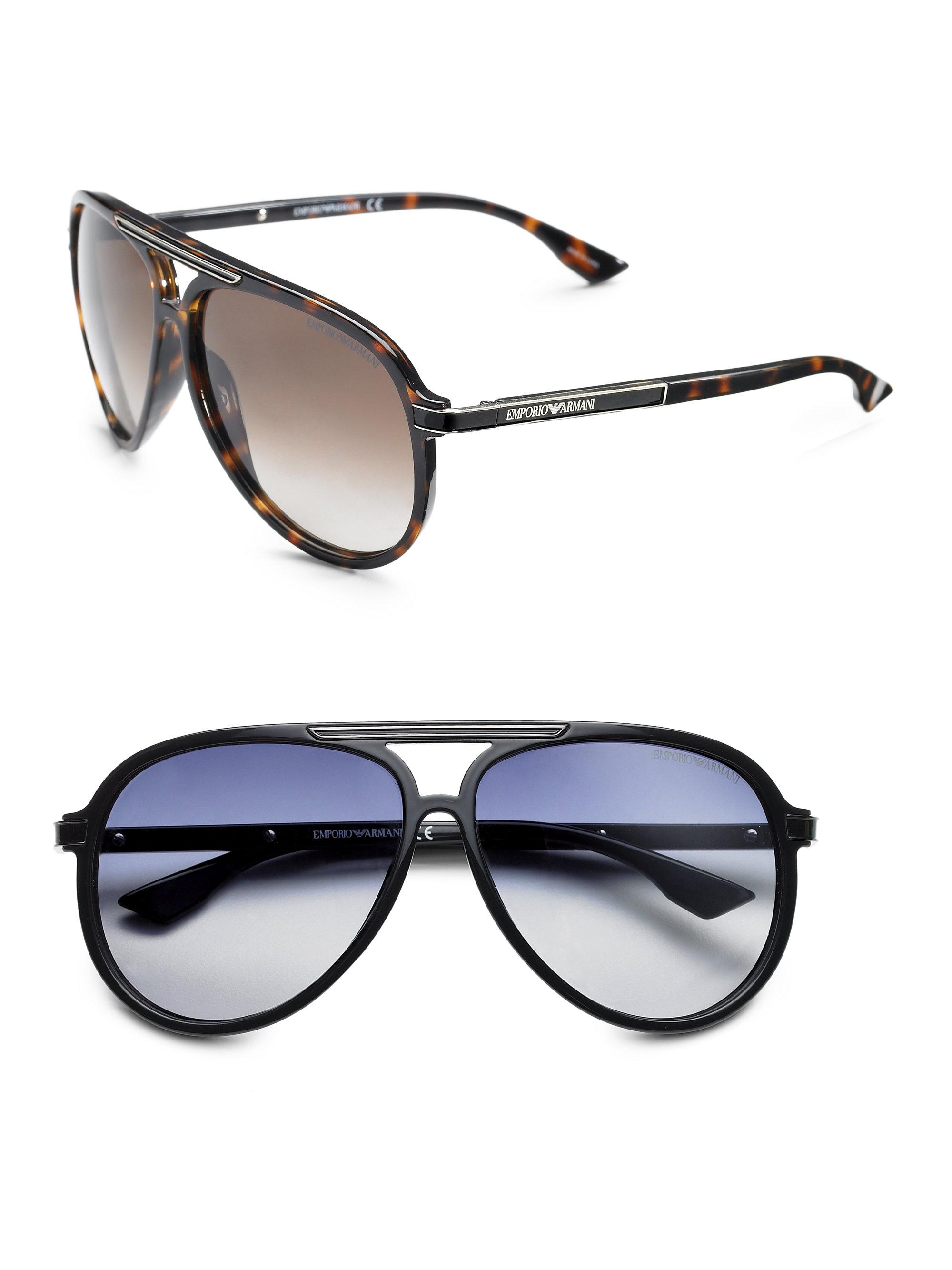 f43932c4ff0 Emporio Sunglasses Lyst Armani In Plastic For Men Aviator Black 4qx7Ow