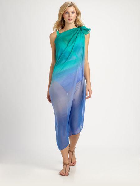 Gottex Swim Silk Rainbow Goddess Pareo in Blue (seafoam) - Lyst