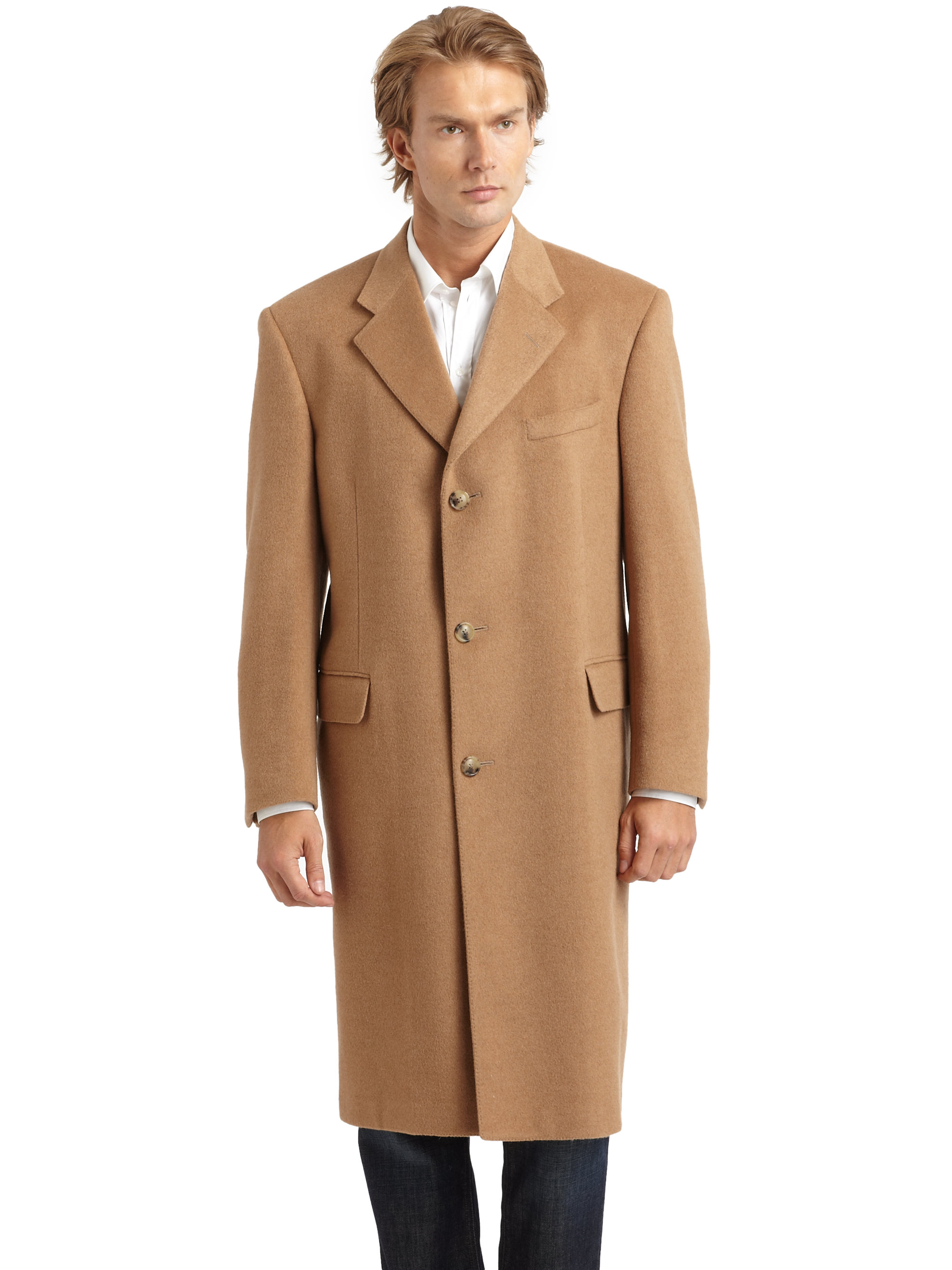 Hickey freeman Cashmere Flap Pocket Coat in Natural for Men | Lyst