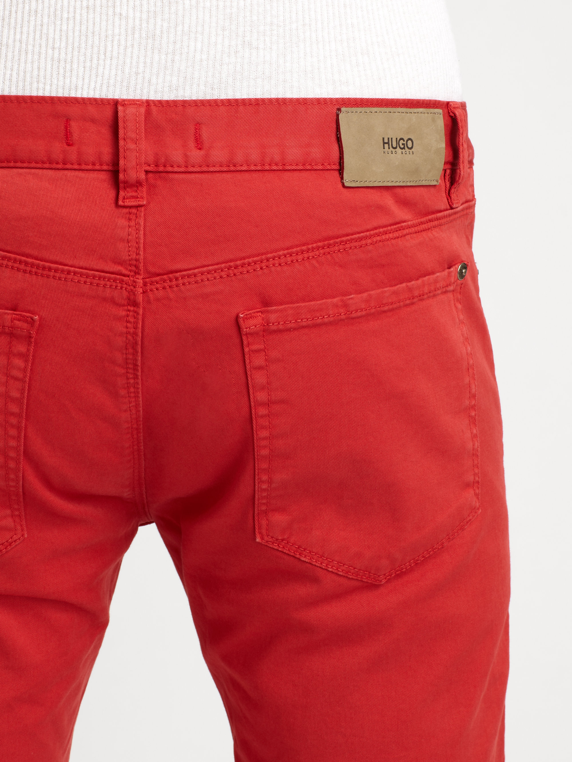 Hugo Colored Straight Leg Jeans in Red for Men   Lyst