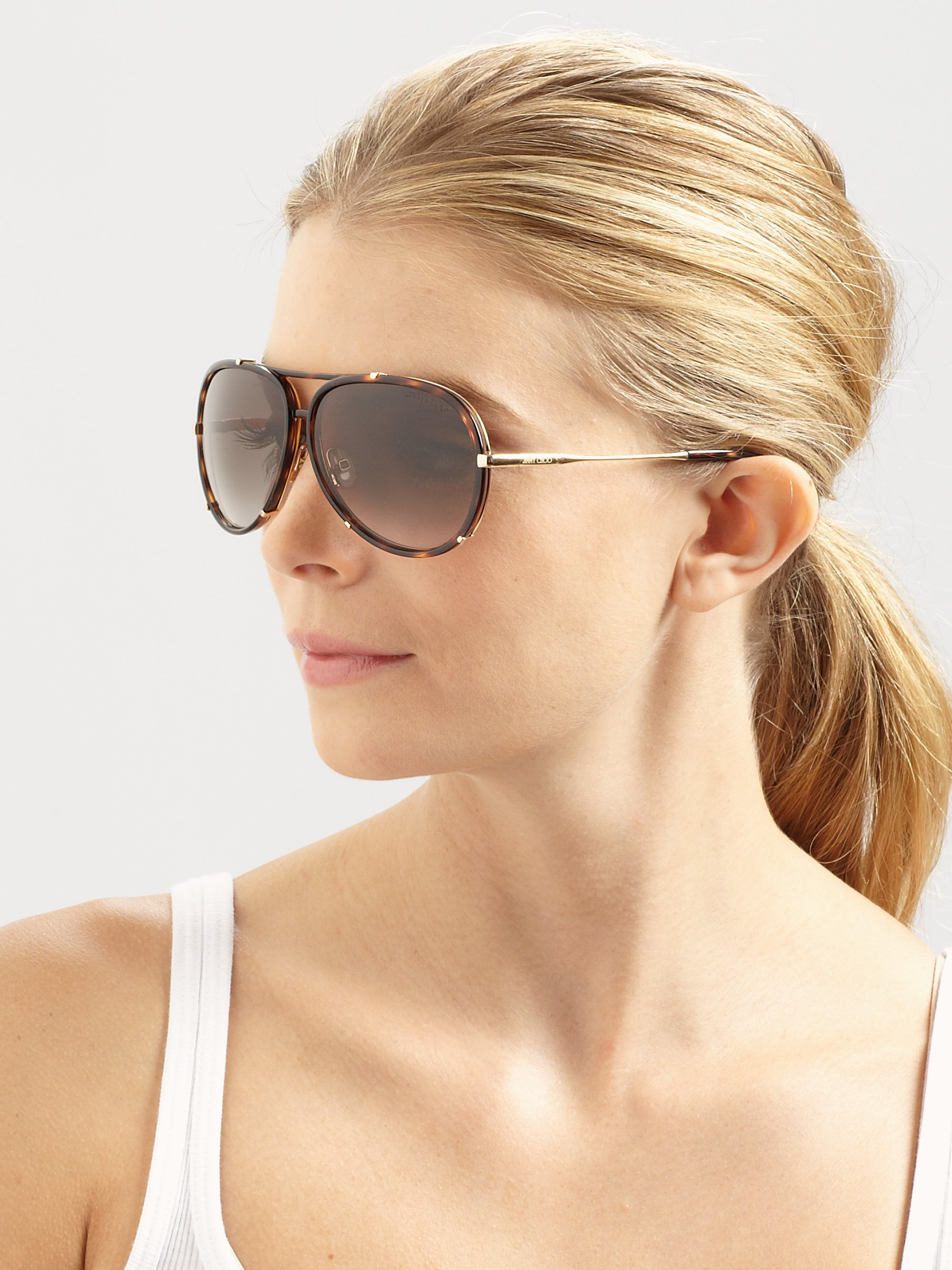 9216a29538ae Jimmy Choo Terrence Plastic Stainless Steel Aviator Sunglasses in ...