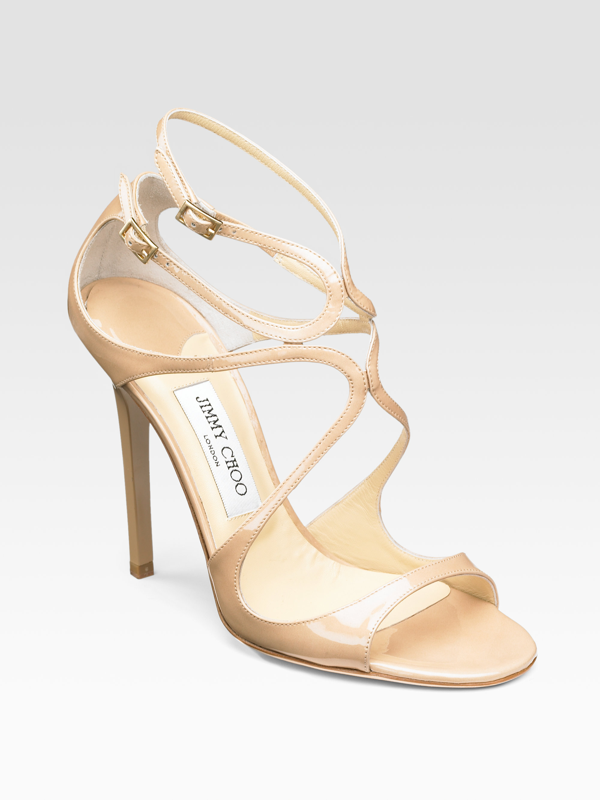 ec2e6f6168bf Lyst - Jimmy Choo Lance Strappy Patent Leather Sandals in Natural