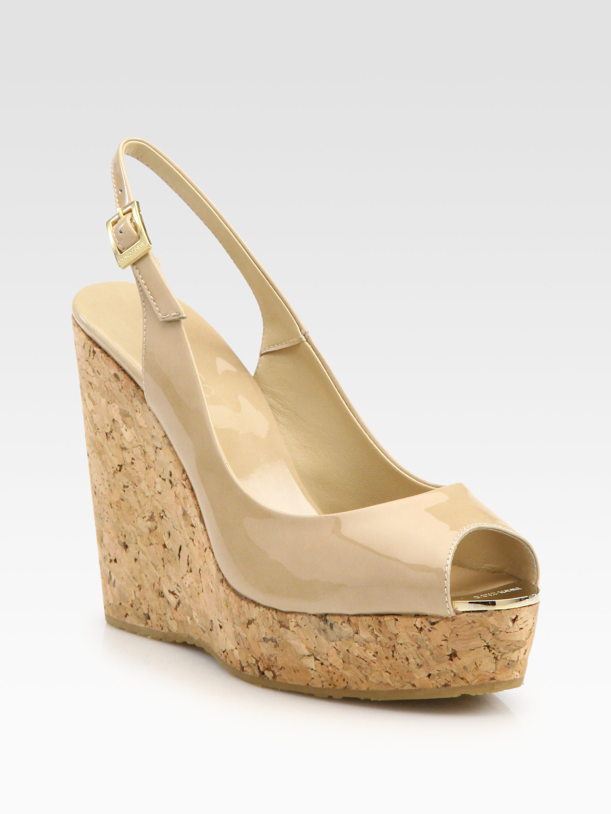 d3a9e046978d06 Lyst - Jimmy Choo Prova Patent Leather Cork Wedge Sandals in Natural