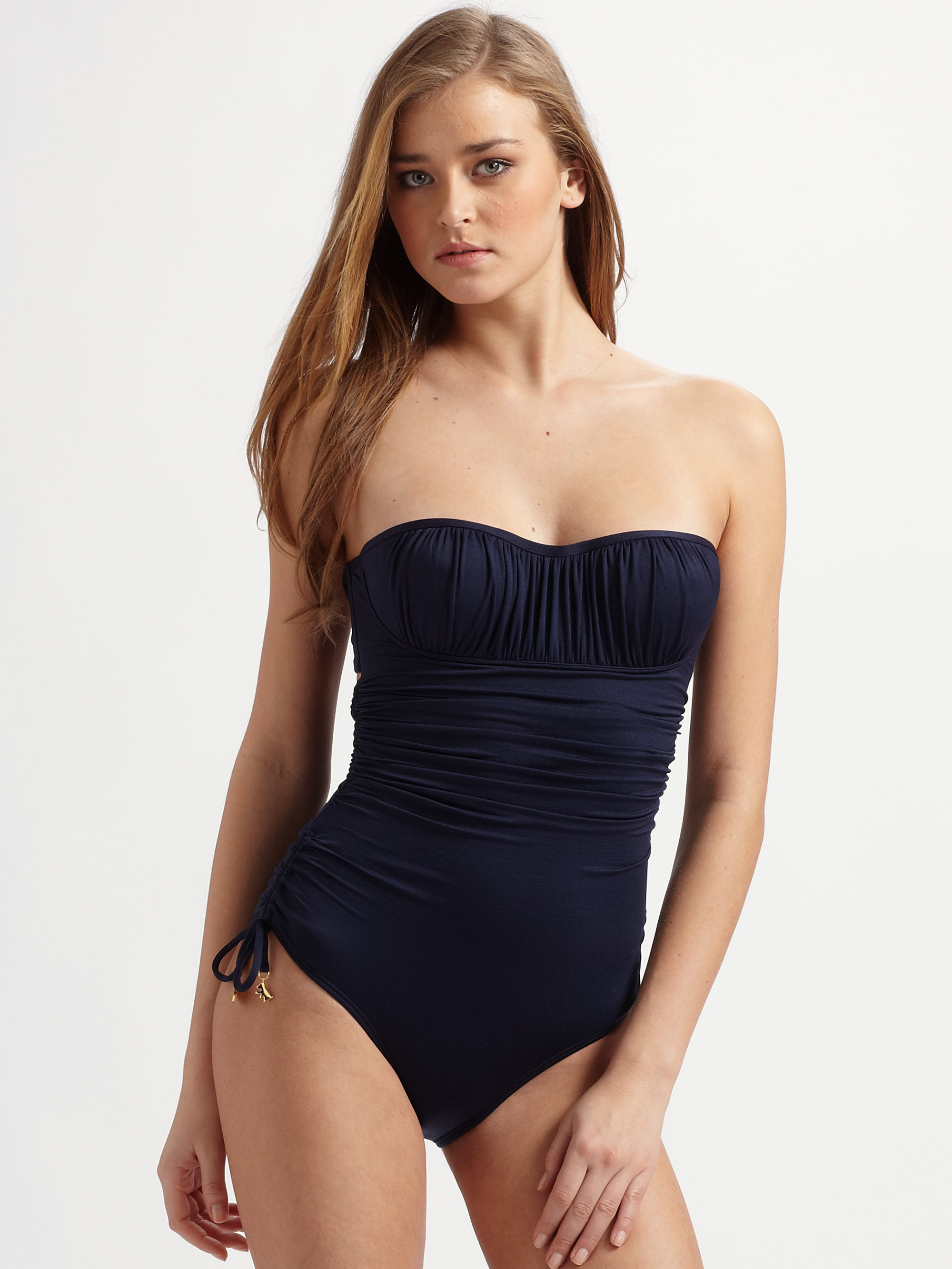 9fe10e3035 Lyst - Juicy Couture Miss Softee Bandeau One Piece Swimsuit in Blue