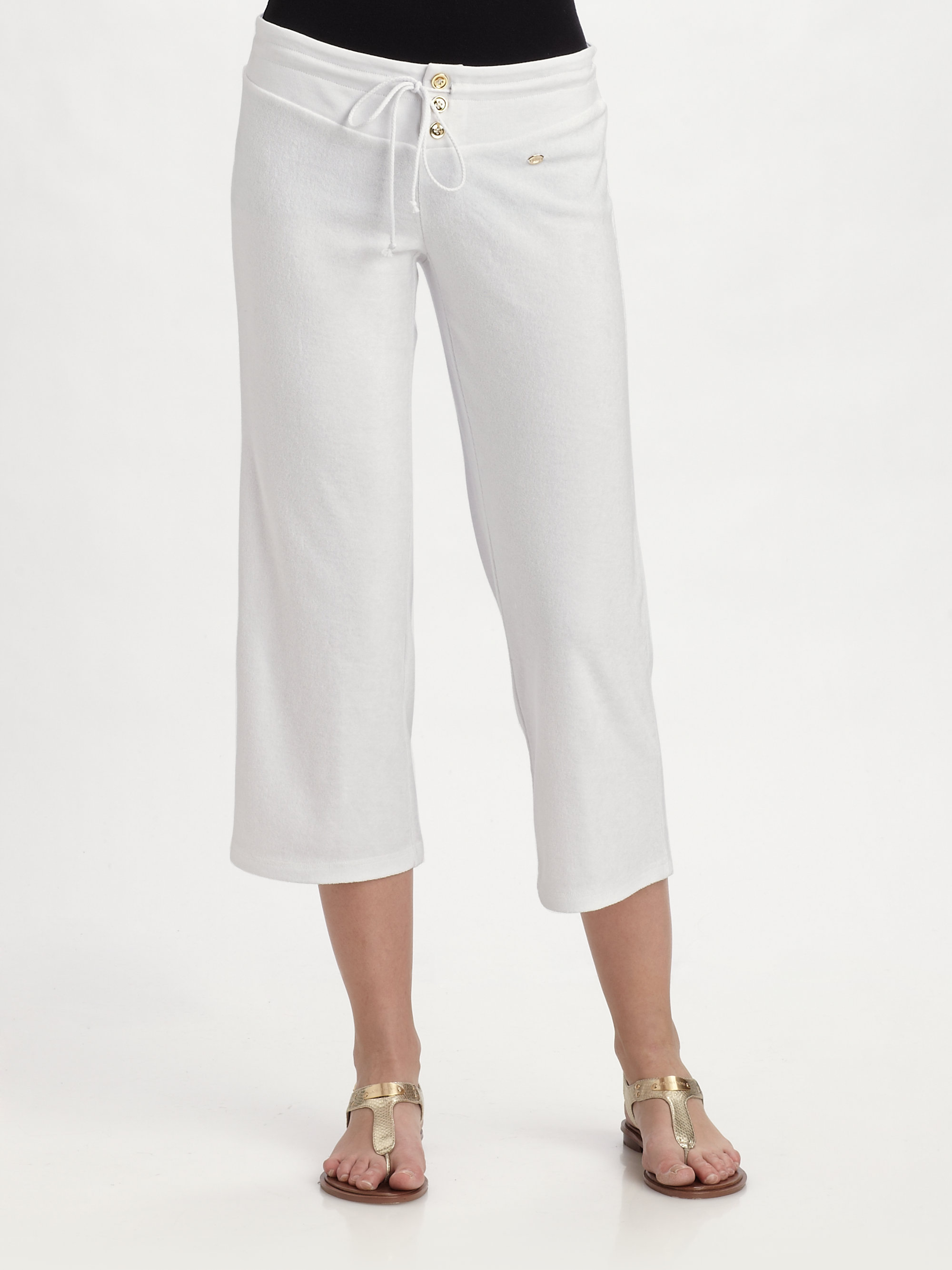 Lyst - Juicy Couture Terry Cropped Pants in White ed65c455751c