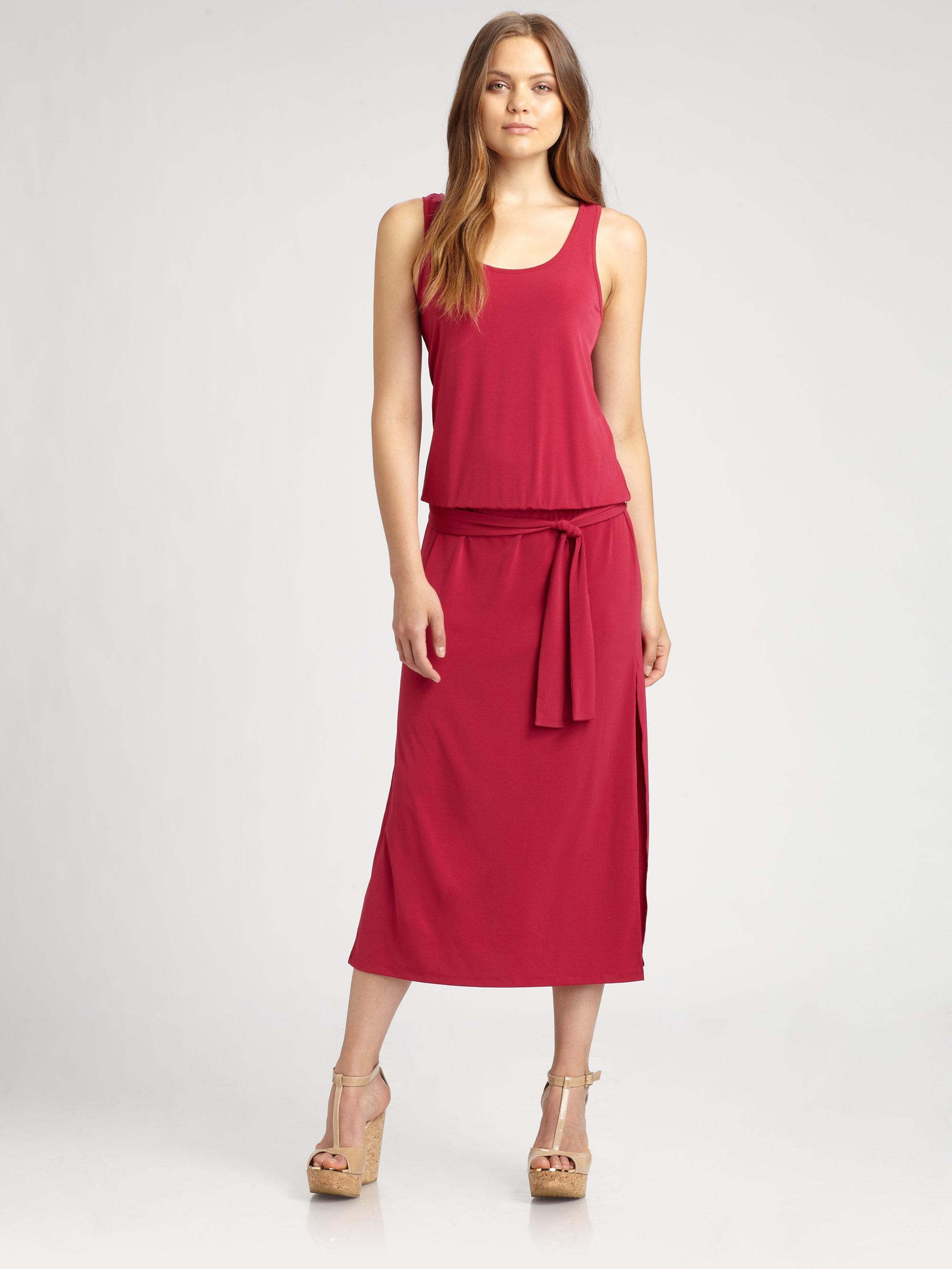 michael michael kors sleeveless belted dress in pink