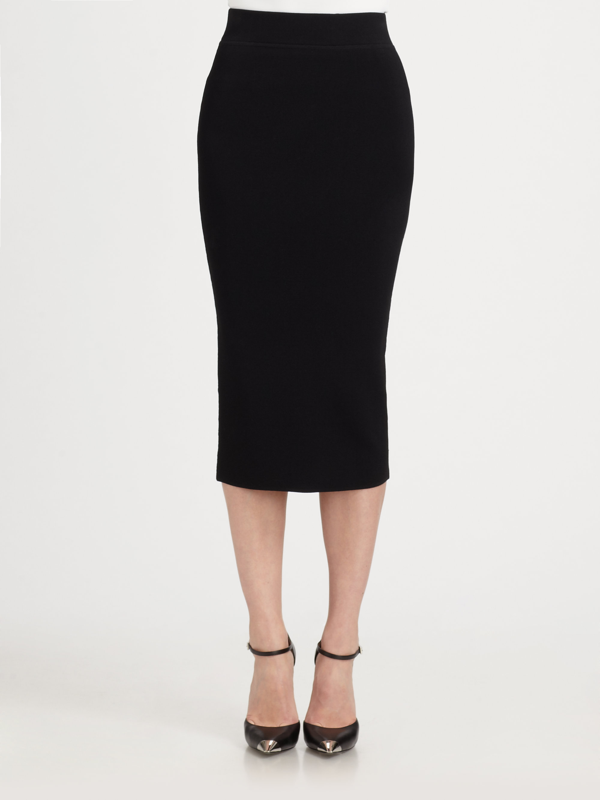 black stretch pencil skirt redskirtz