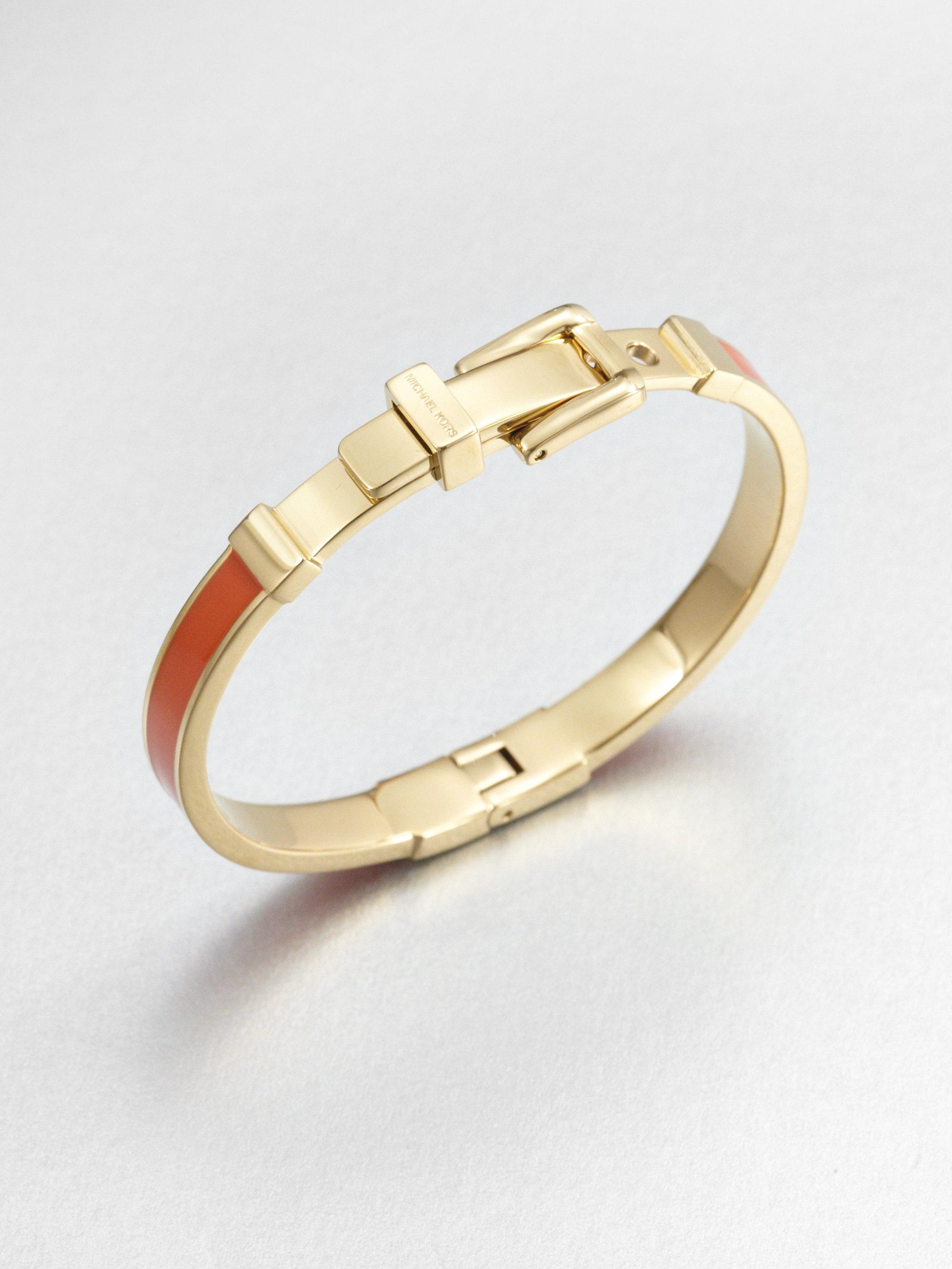 lyst michael kors buckle bangle bracelet mandarin in orange. Black Bedroom Furniture Sets. Home Design Ideas