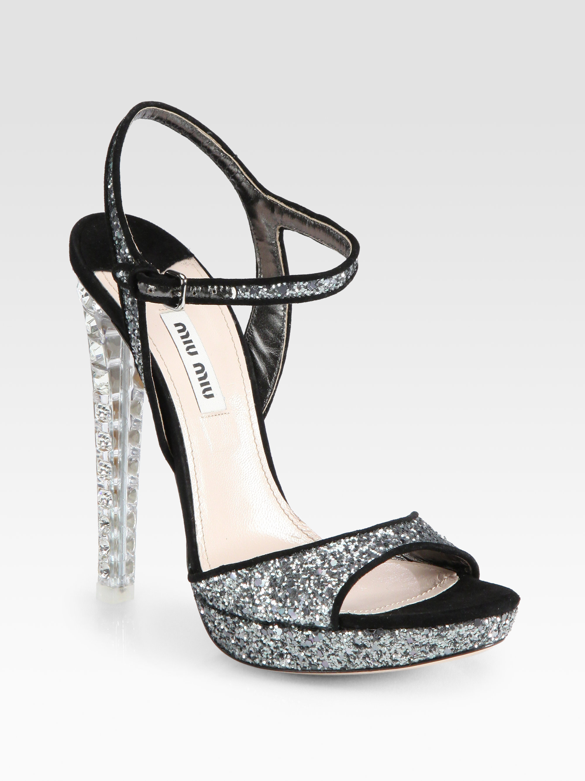 Black glitter sandals - Gallery