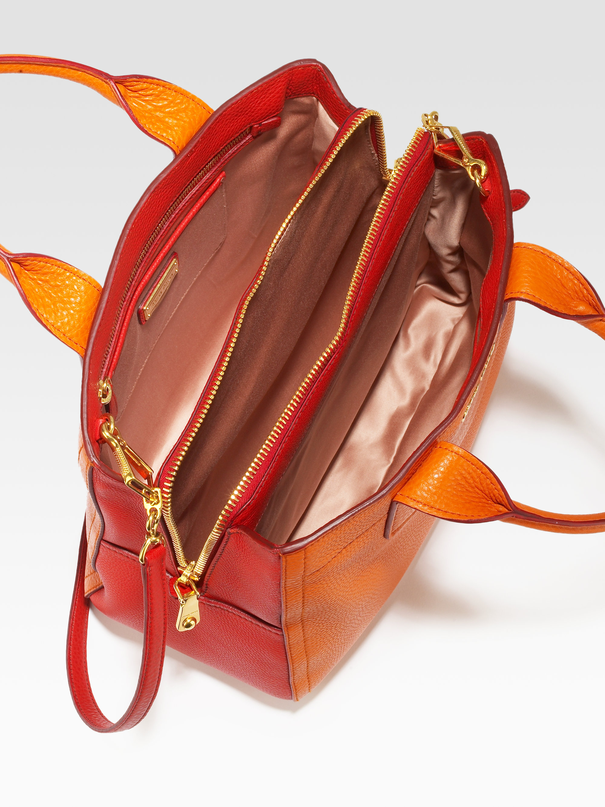 99d0561b17ad Lyst - Miu Miu Vitello Caribou Bicolor Small Tote in Orange
