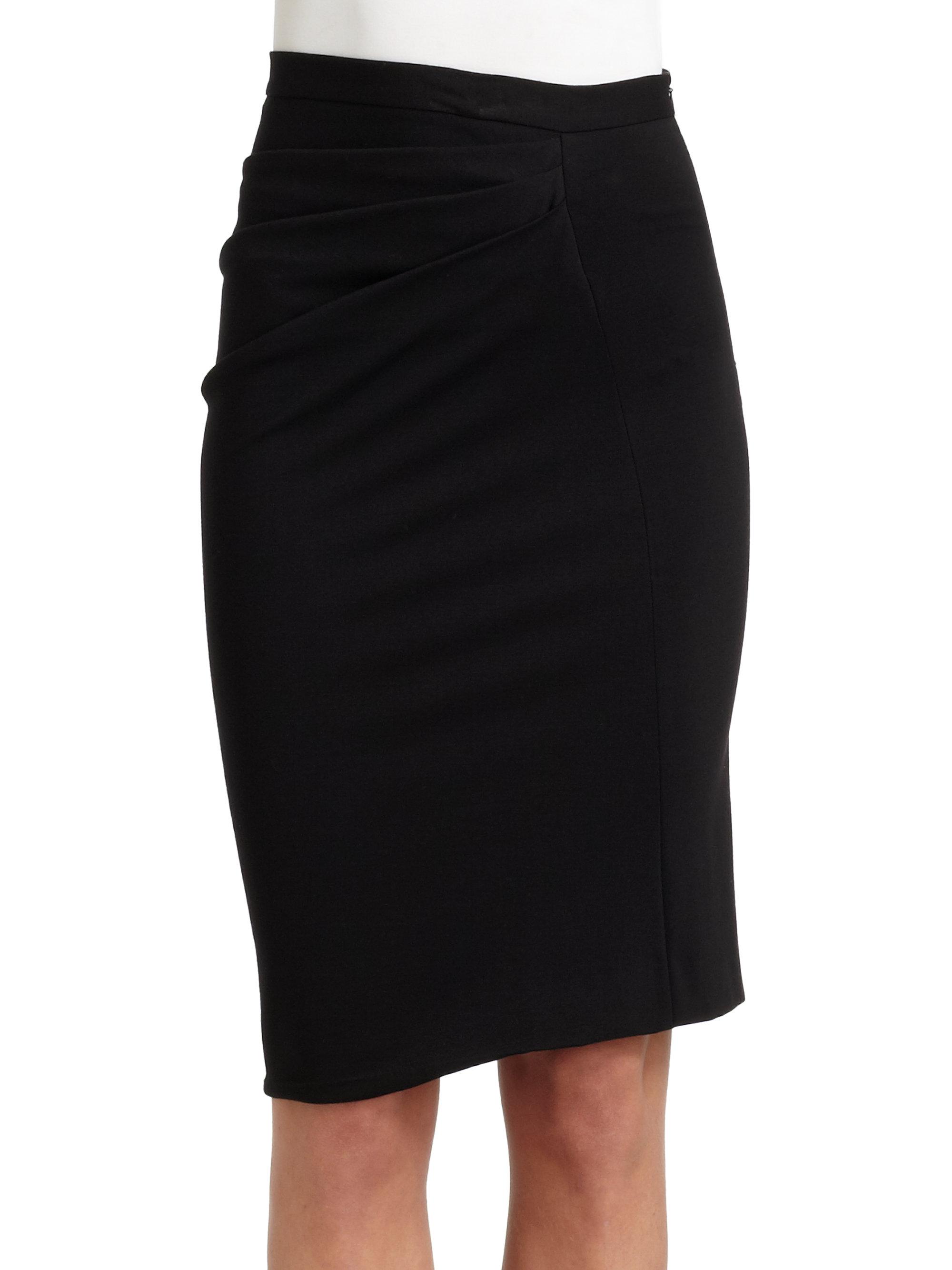 boutique moschino asymmetric draped pencil skirt in black