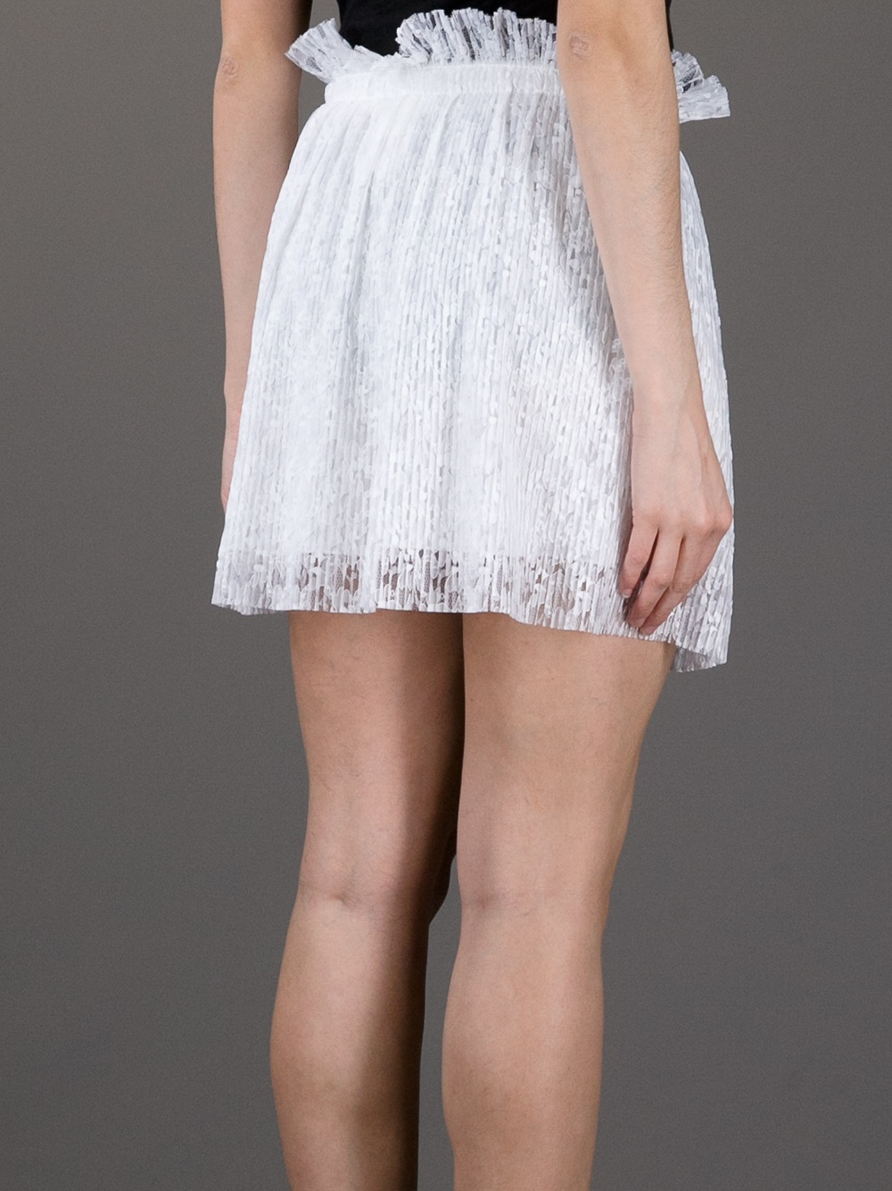 Lyst Msgm Pleated Lace Skirt In White