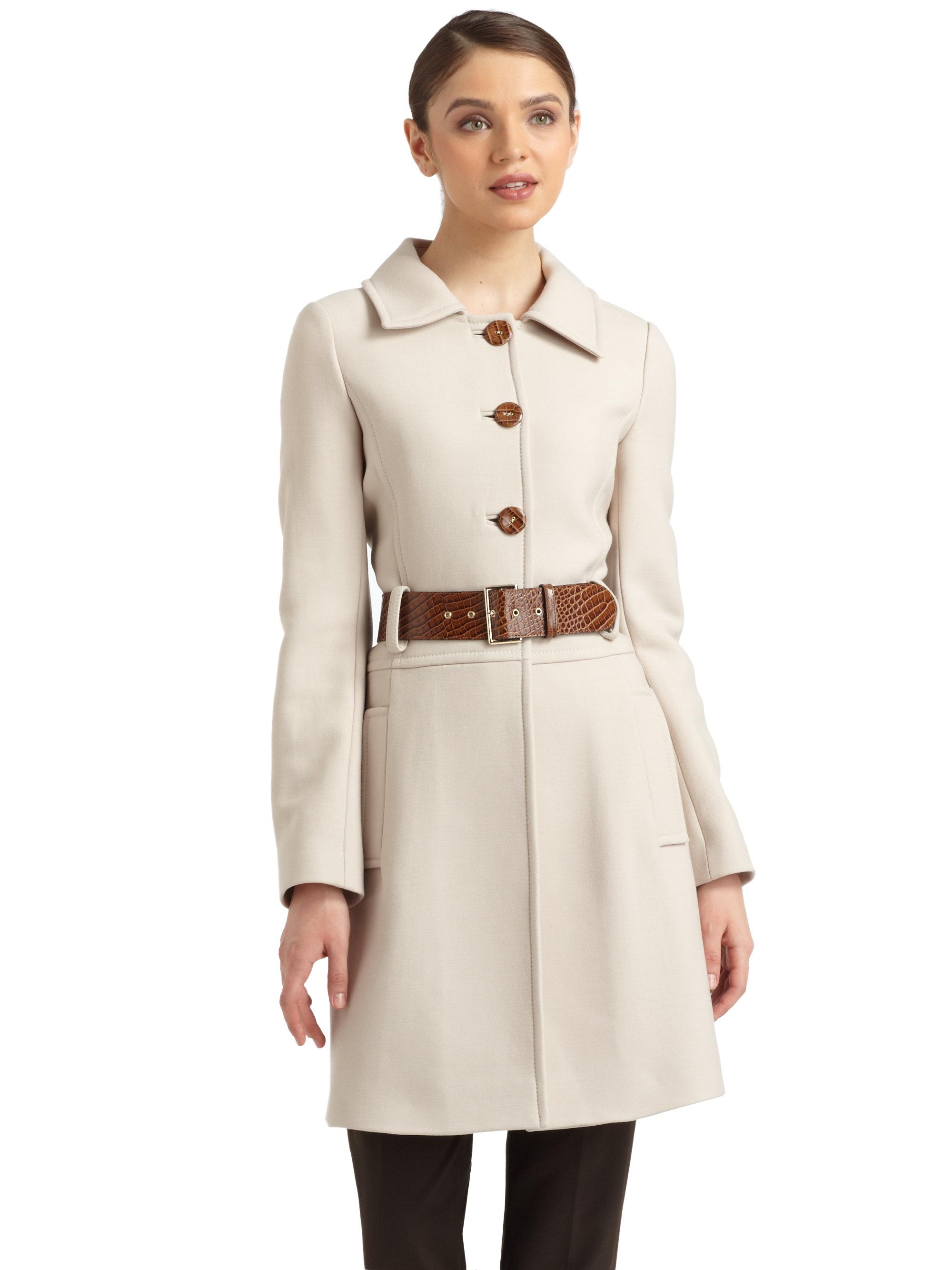 Lyst - Philosophy di Alberta Ferretti Buttonfront Belted Wool Coat ... c6c1c1981