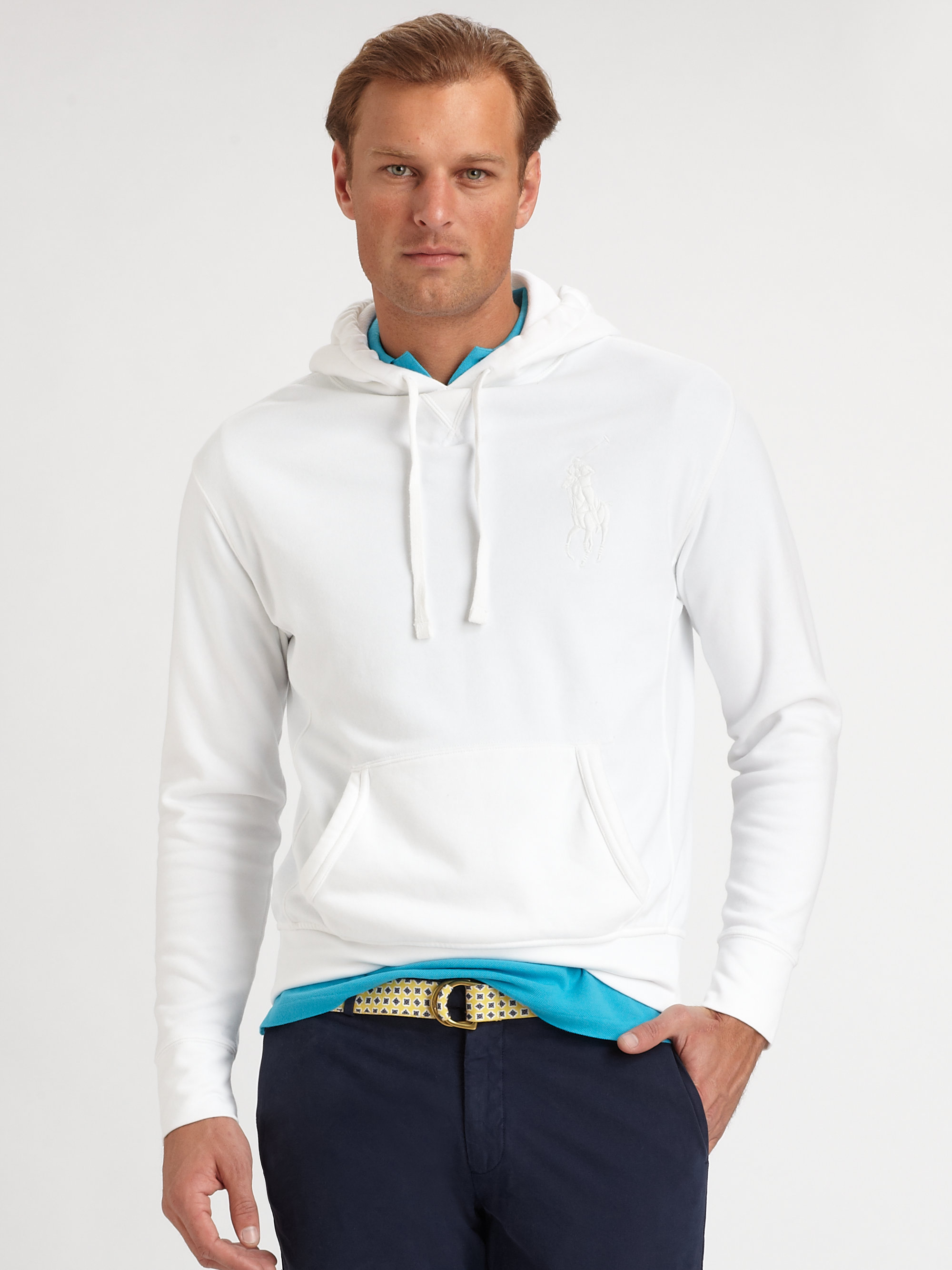 polo ralph lauren beach fleece pullover hoodie in white. Black Bedroom Furniture Sets. Home Design Ideas