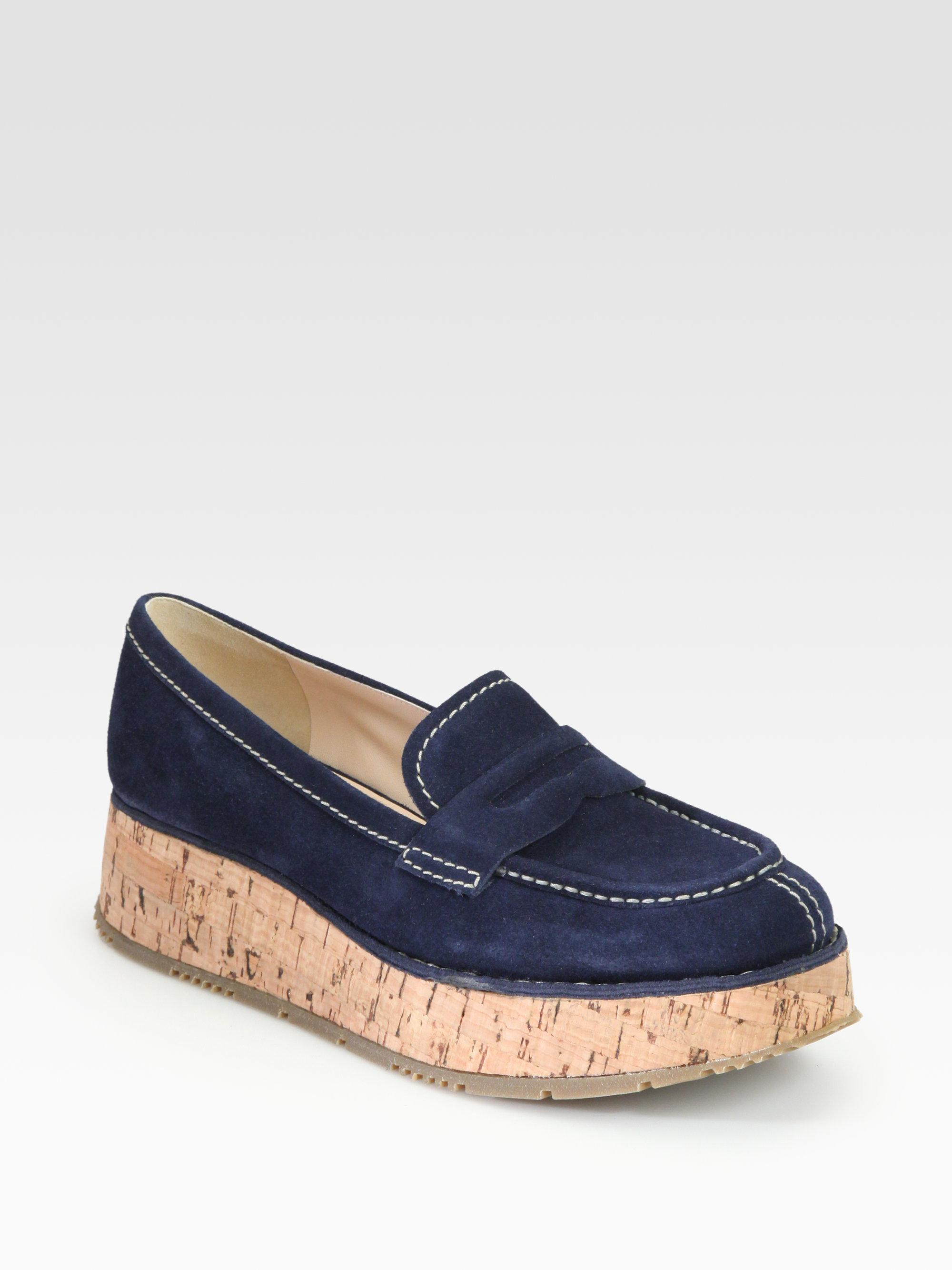 25d49e4324f promo code for prada leather platform loafers 4f04f 4adbc  shopping lyst  prada suede cork platform loafers in blue 91f89 e3728