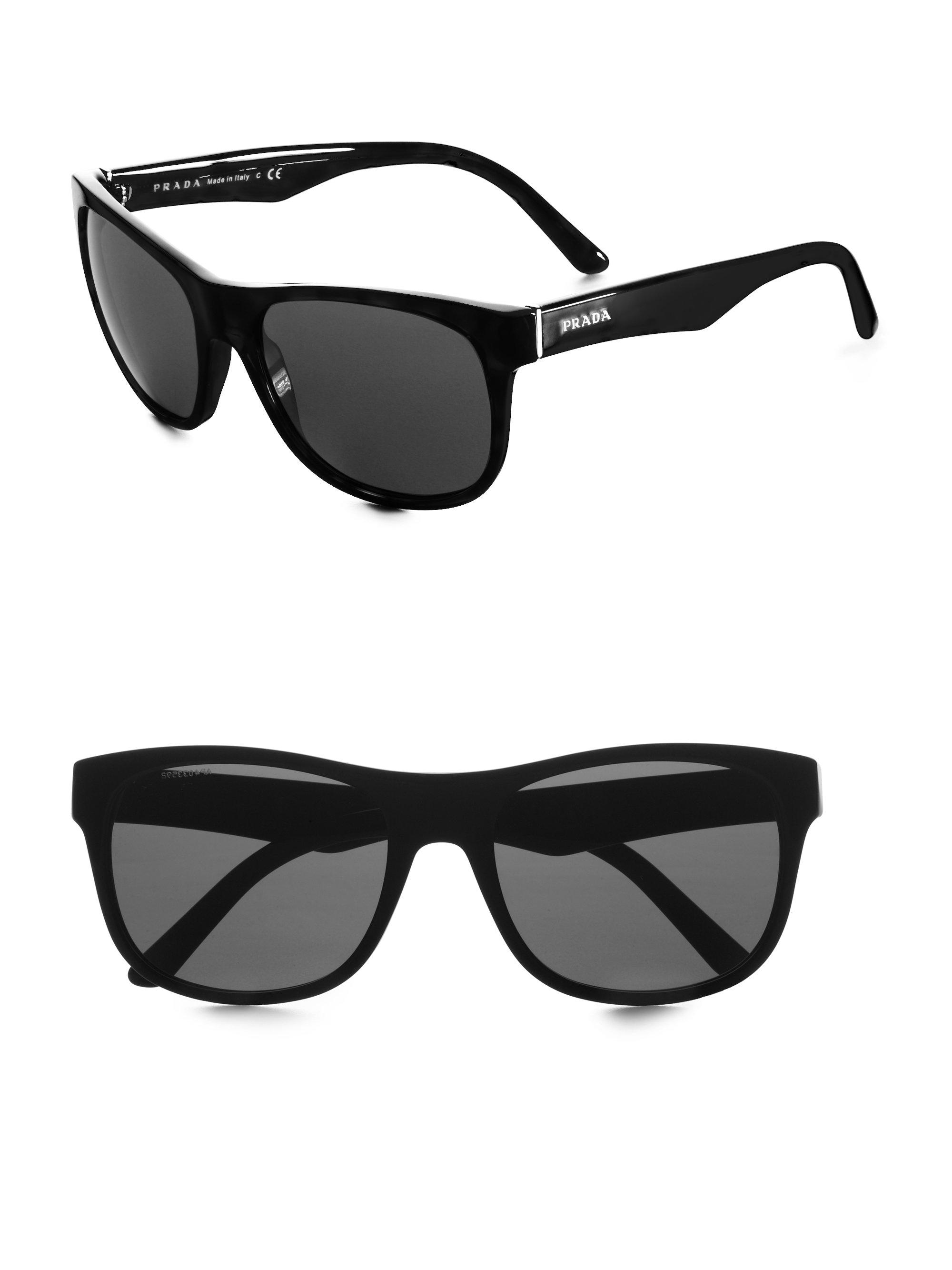 lyst prada wayfarer sunglasses in black for