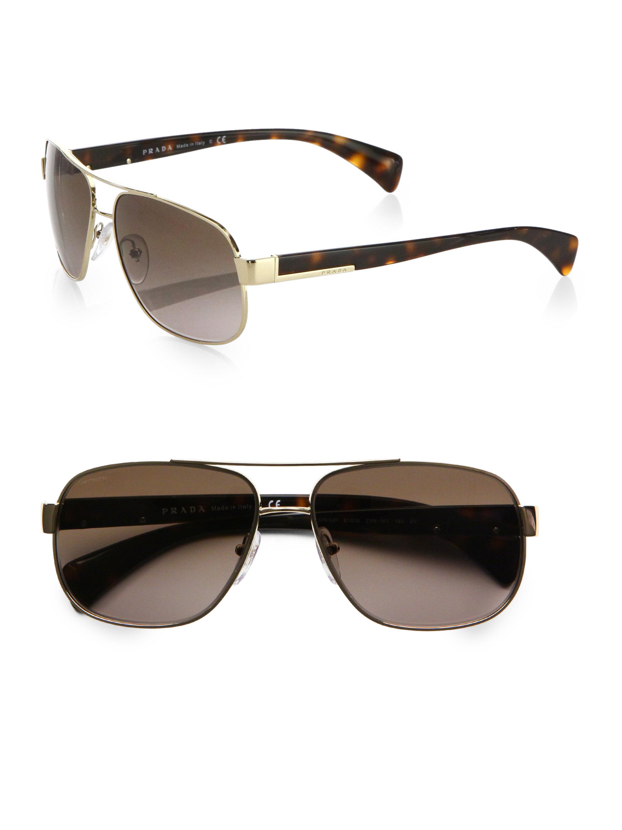 36879a1b75853 ... norway lyst prada classic metal pilot sunglasses in brown for men a3155  48211