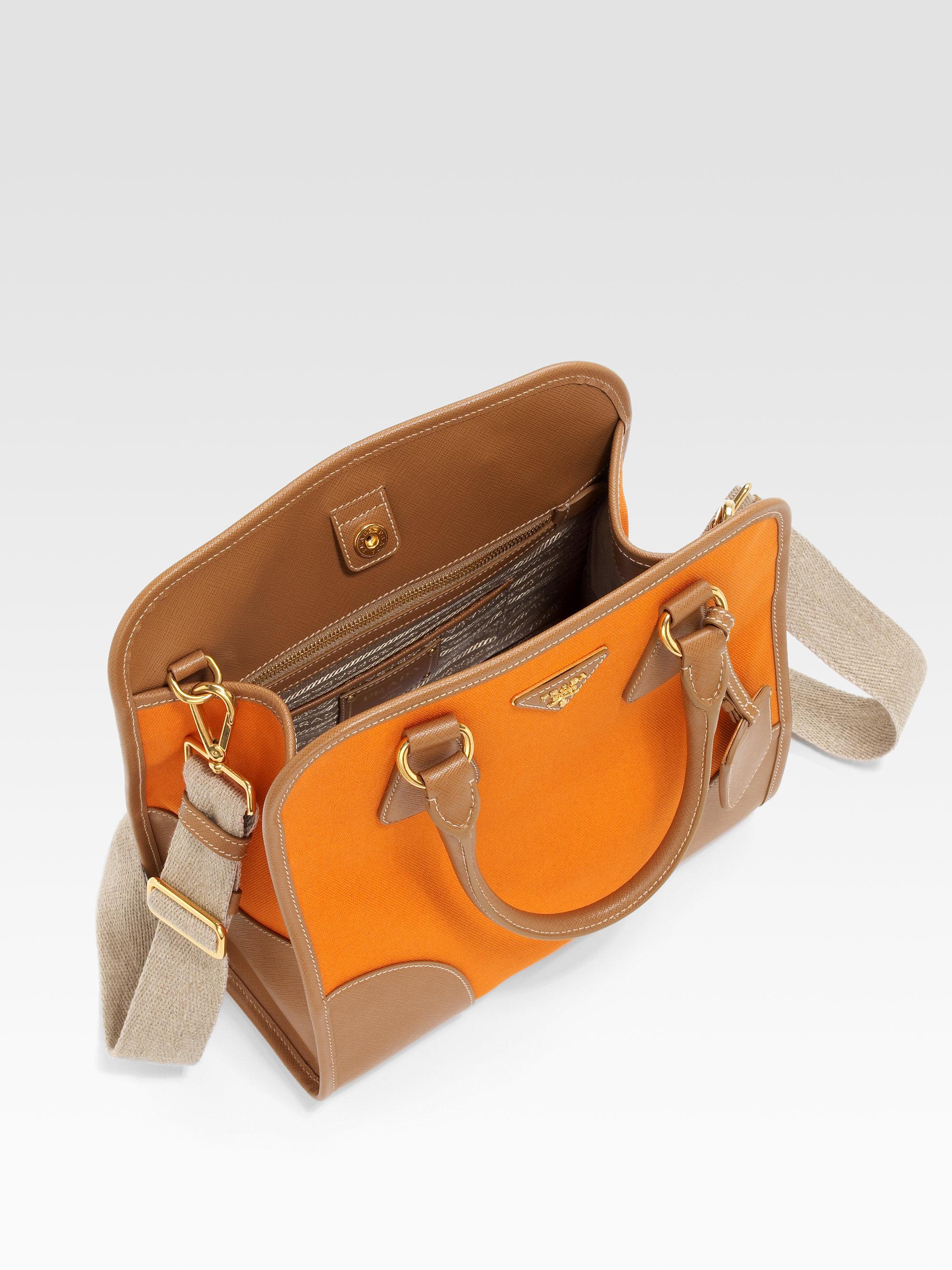 prada ostrich leather handbag - Prada Saffiano Leather Canvas Tote Bag in Orange (papaya) | Lyst