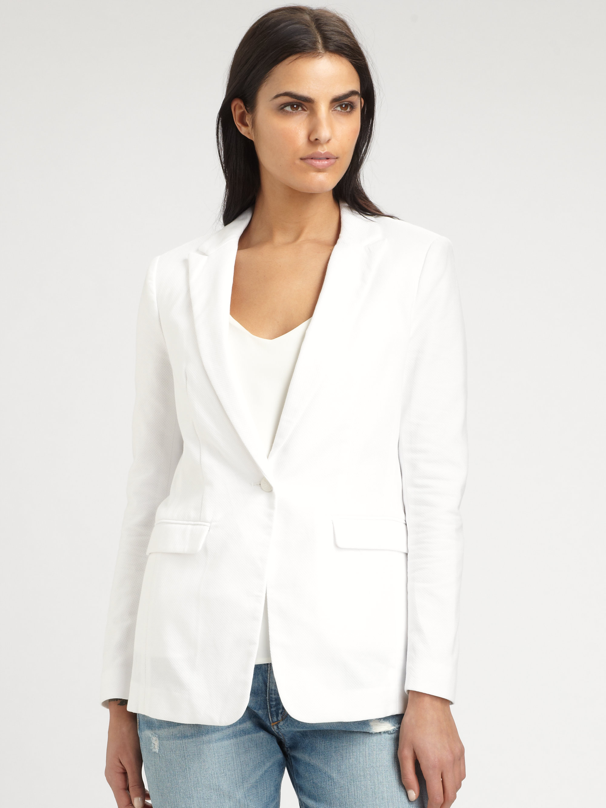 rag bone 42nd street meshback blazer in white lyst. Black Bedroom Furniture Sets. Home Design Ideas