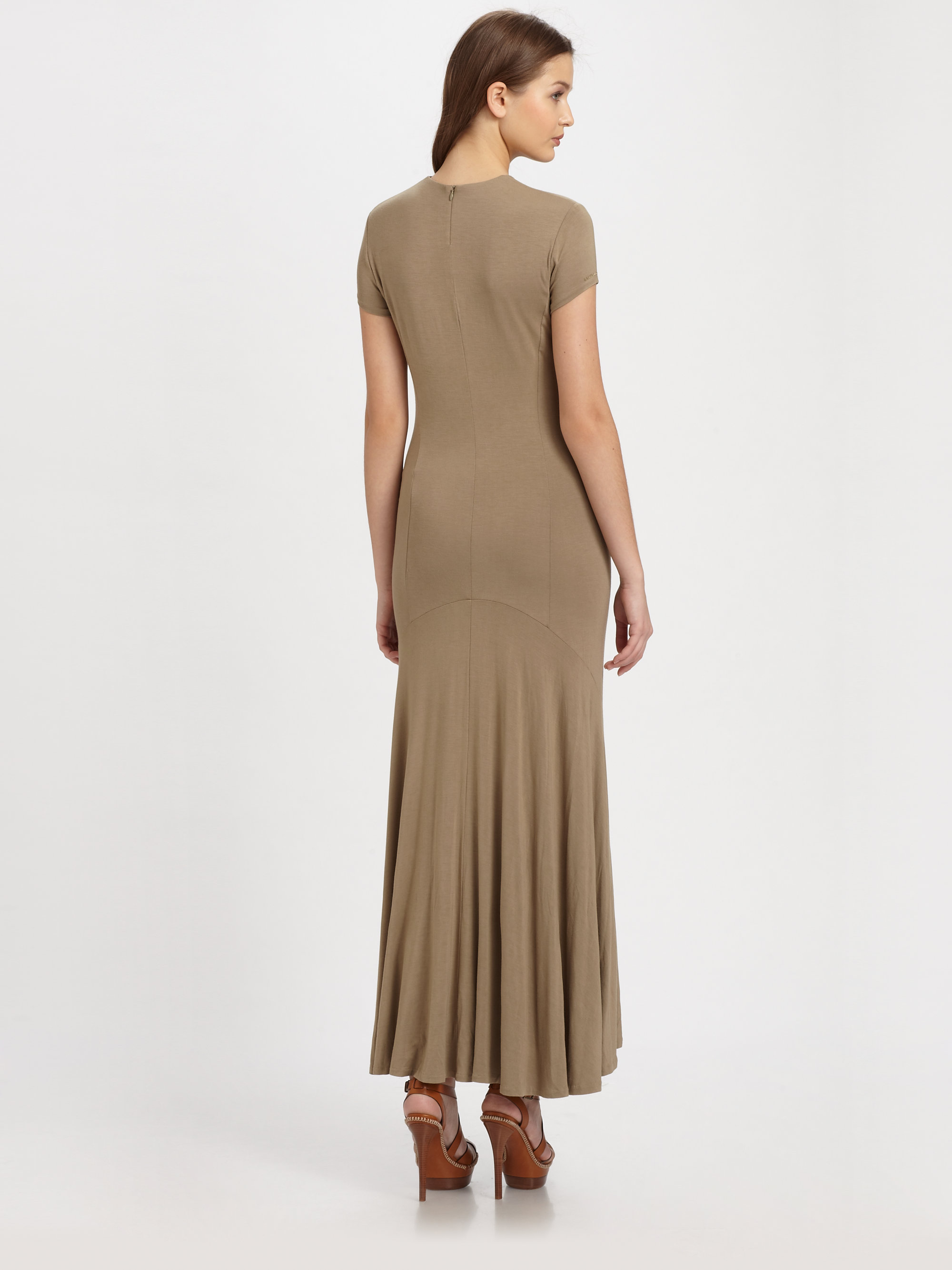 Lyst - Ralph Lauren Blue Label Jersey Knit Maxi Dress in Brown