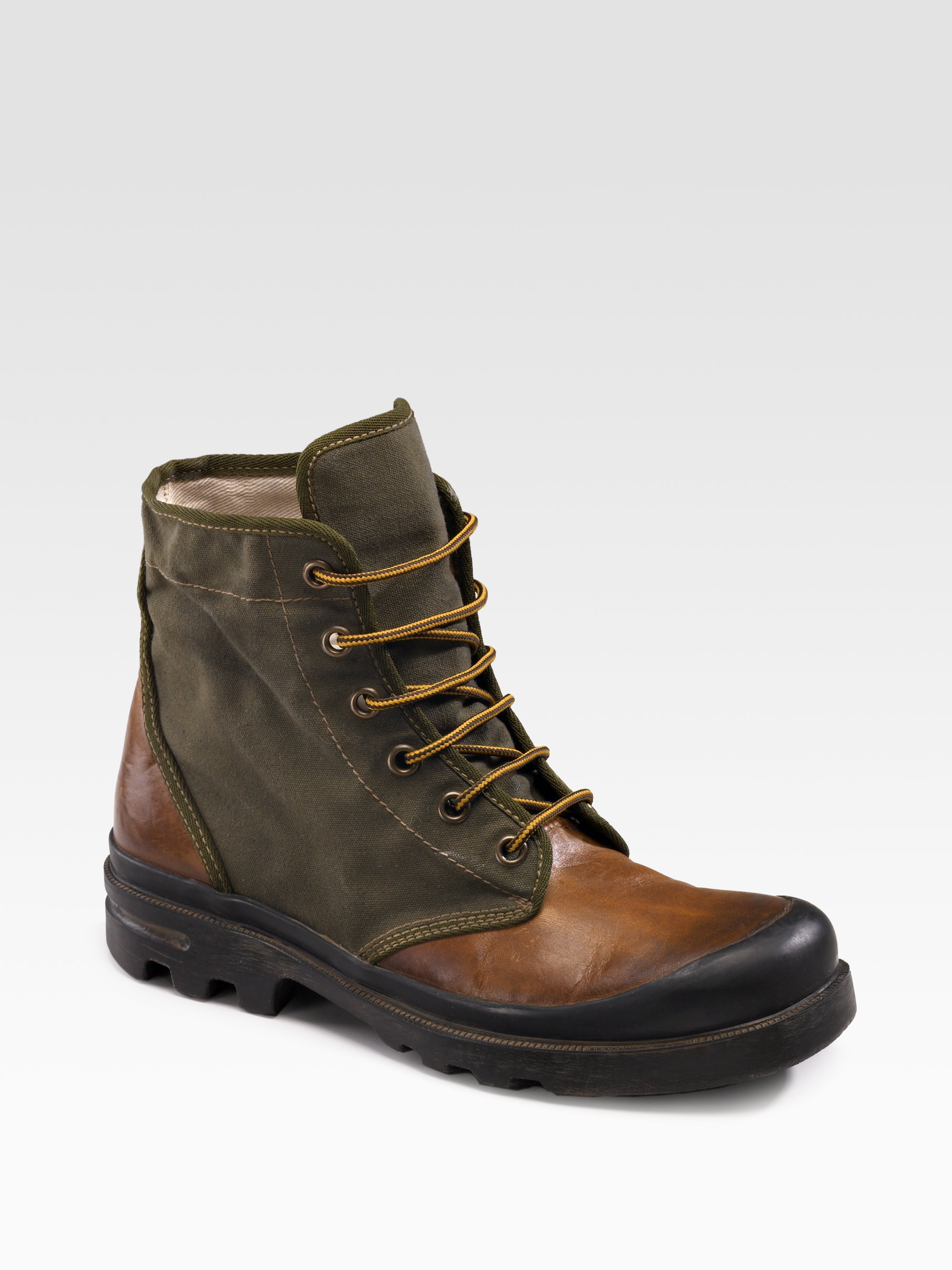 ralph leather canvas ankle boots in green for