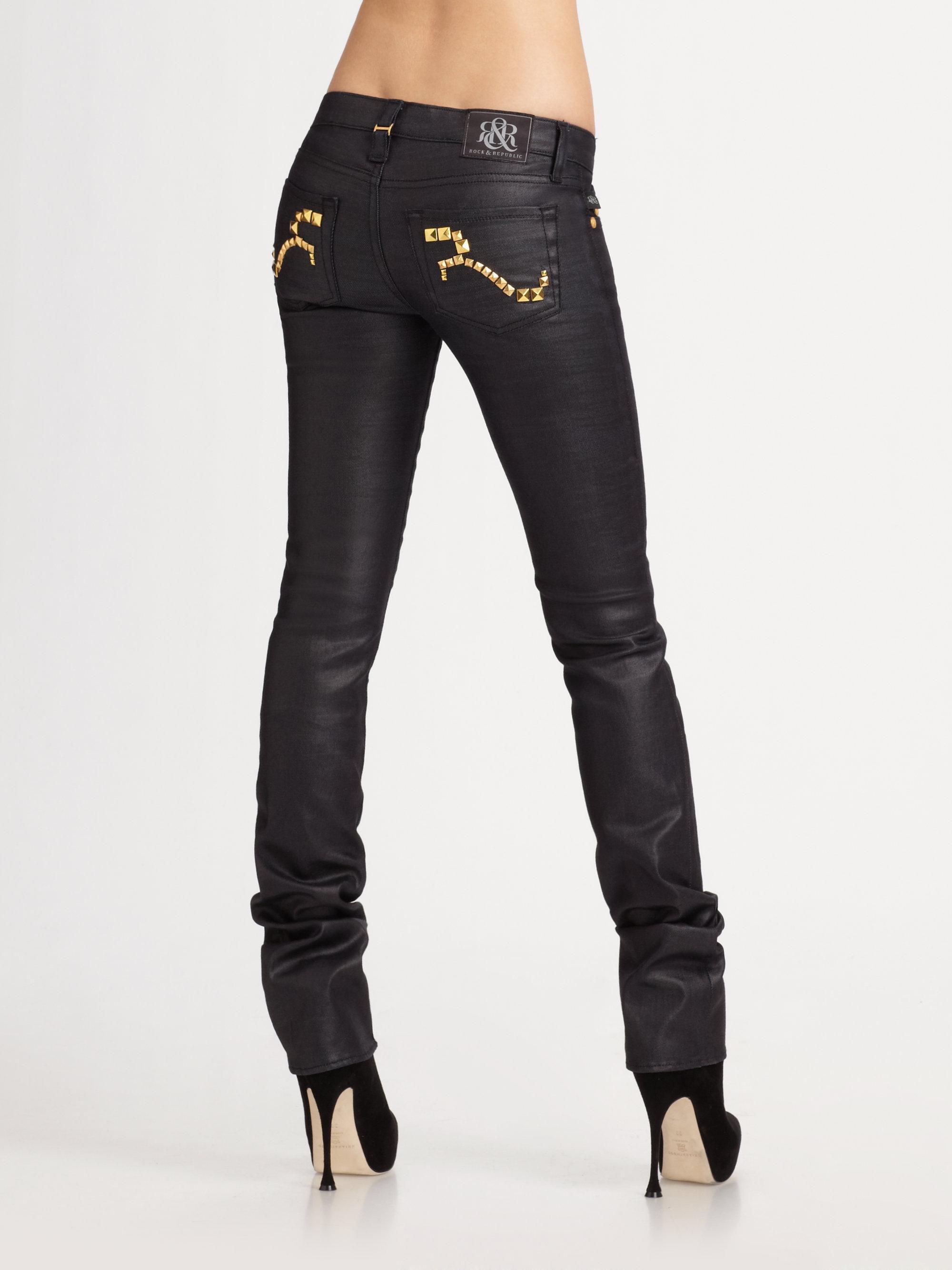 rock republic stella straight leg jeans in black lyst. Black Bedroom Furniture Sets. Home Design Ideas