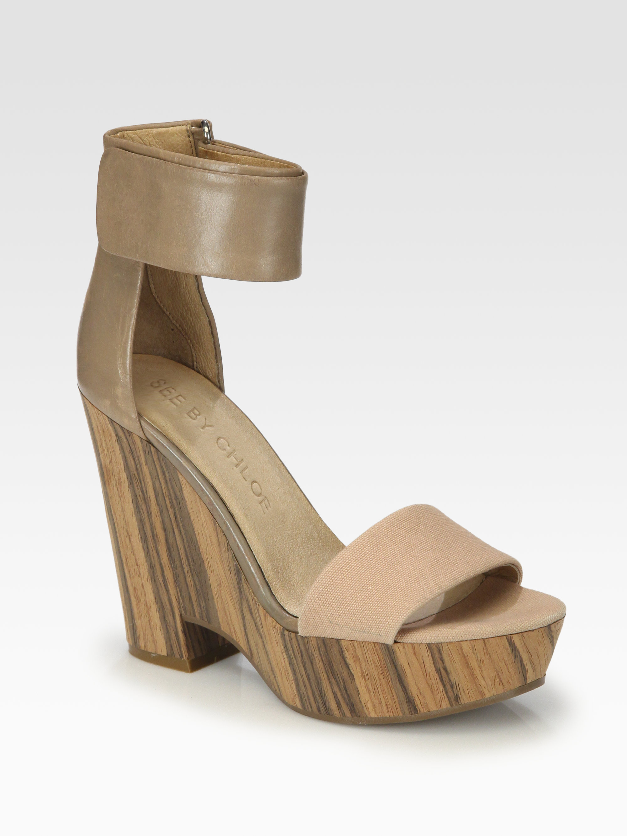 743710200915fc Lyst - See By Chloé Canvas Leather Ankle Strap Wooden Wedge Sandals ...