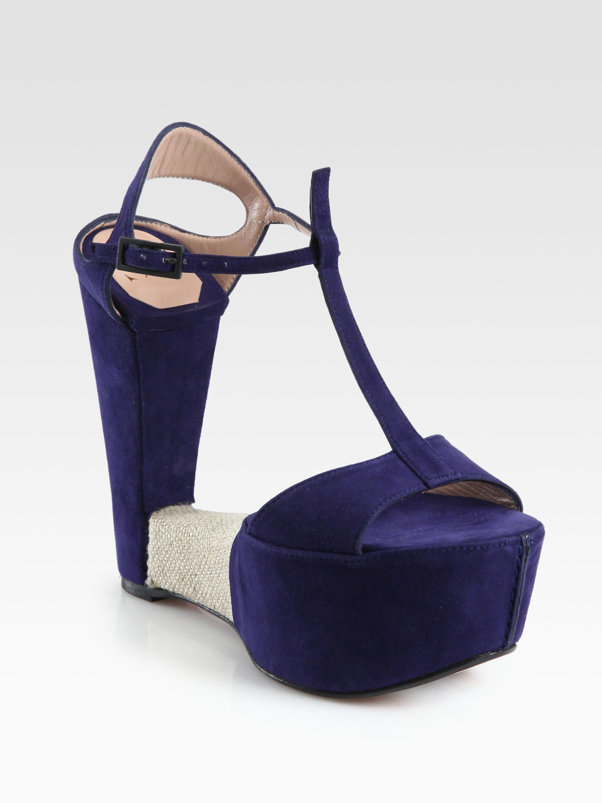 Sw1 Teeter Suede Linen Wedge Sandals In Blue Navy Lyst