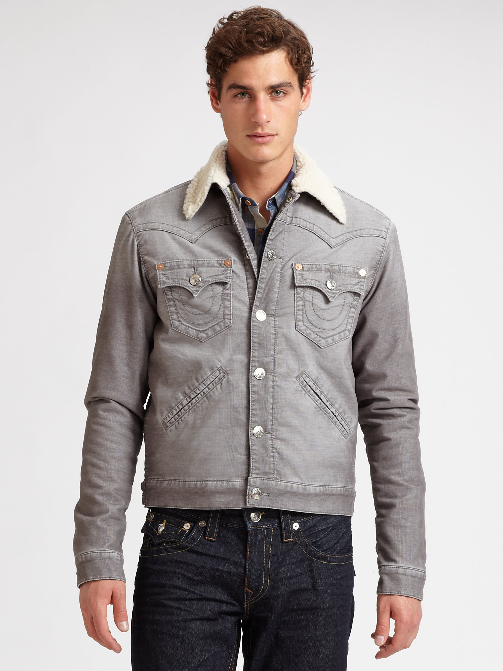 true religion corduroy sherpa jacket in gray for men lyst. Black Bedroom Furniture Sets. Home Design Ideas