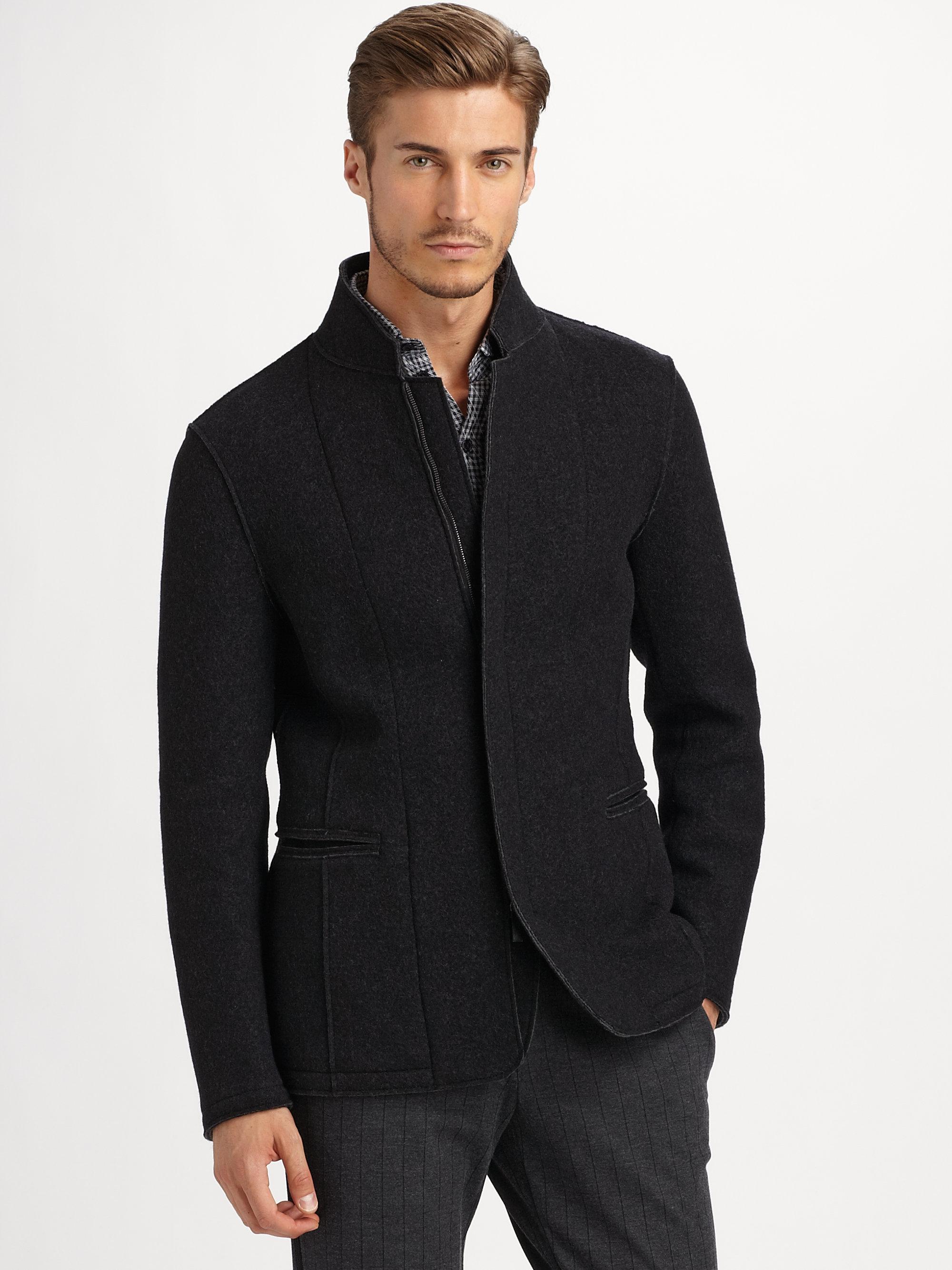 Lyst Armani Boiled Wool Blend Jacket In Black For Men