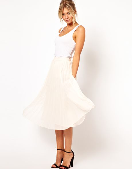 asos midi skirt with pleats in white lyst