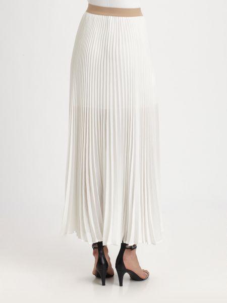bcbgmaxazria accordion maxi skirt in white lyst