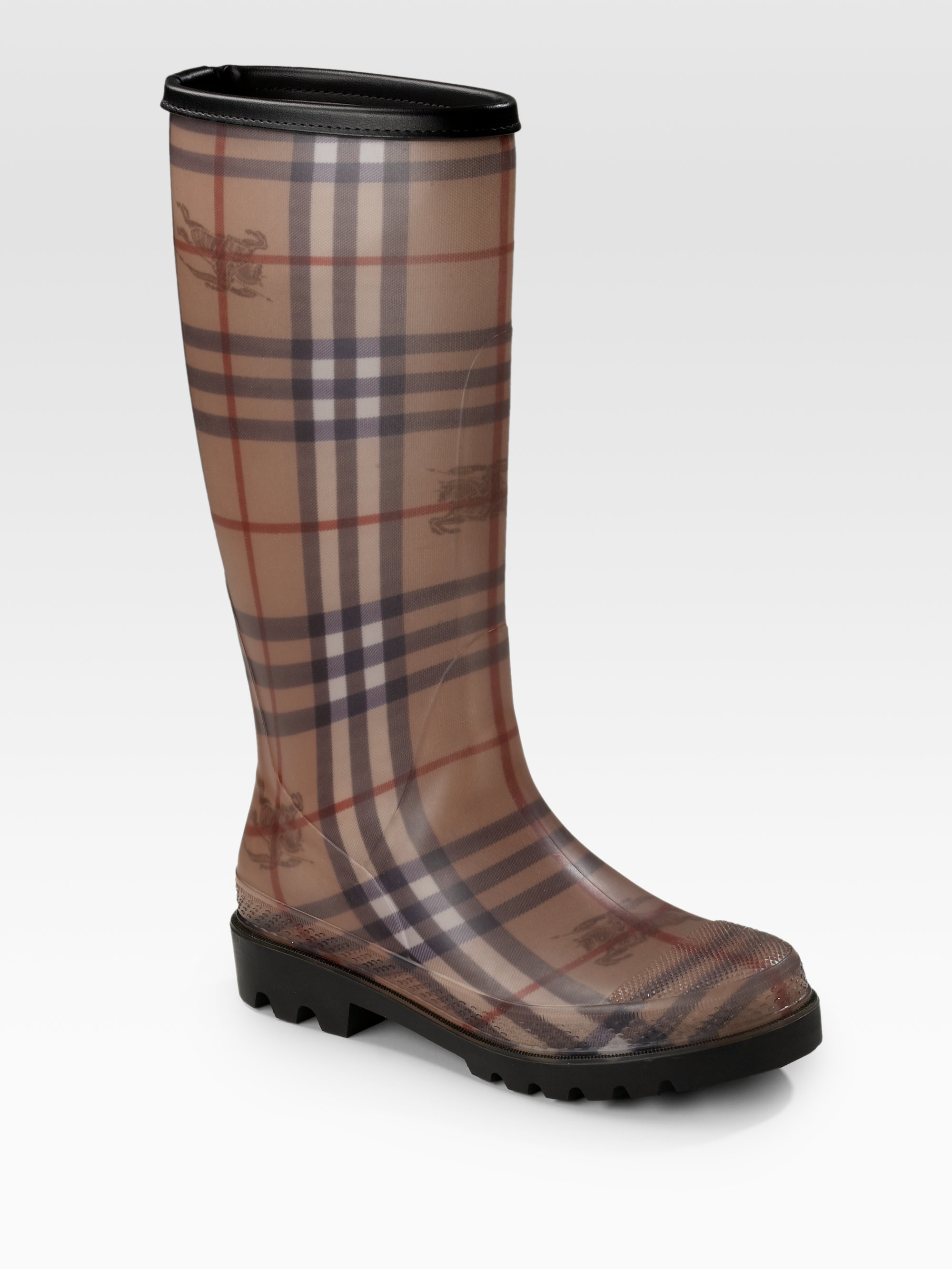 Burberry Classic Check Rain Boots in Brown | Lyst