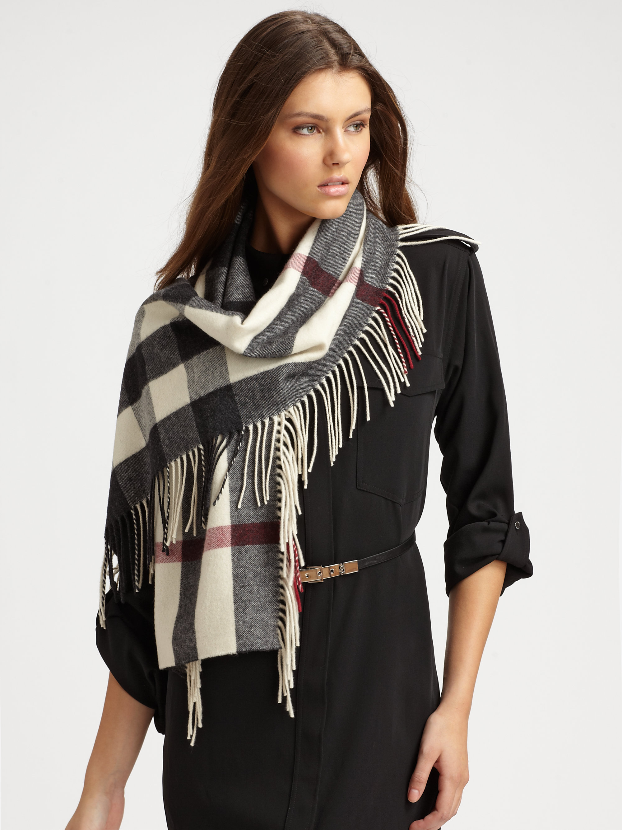 burberry half mega check happy wool scarf for lyst