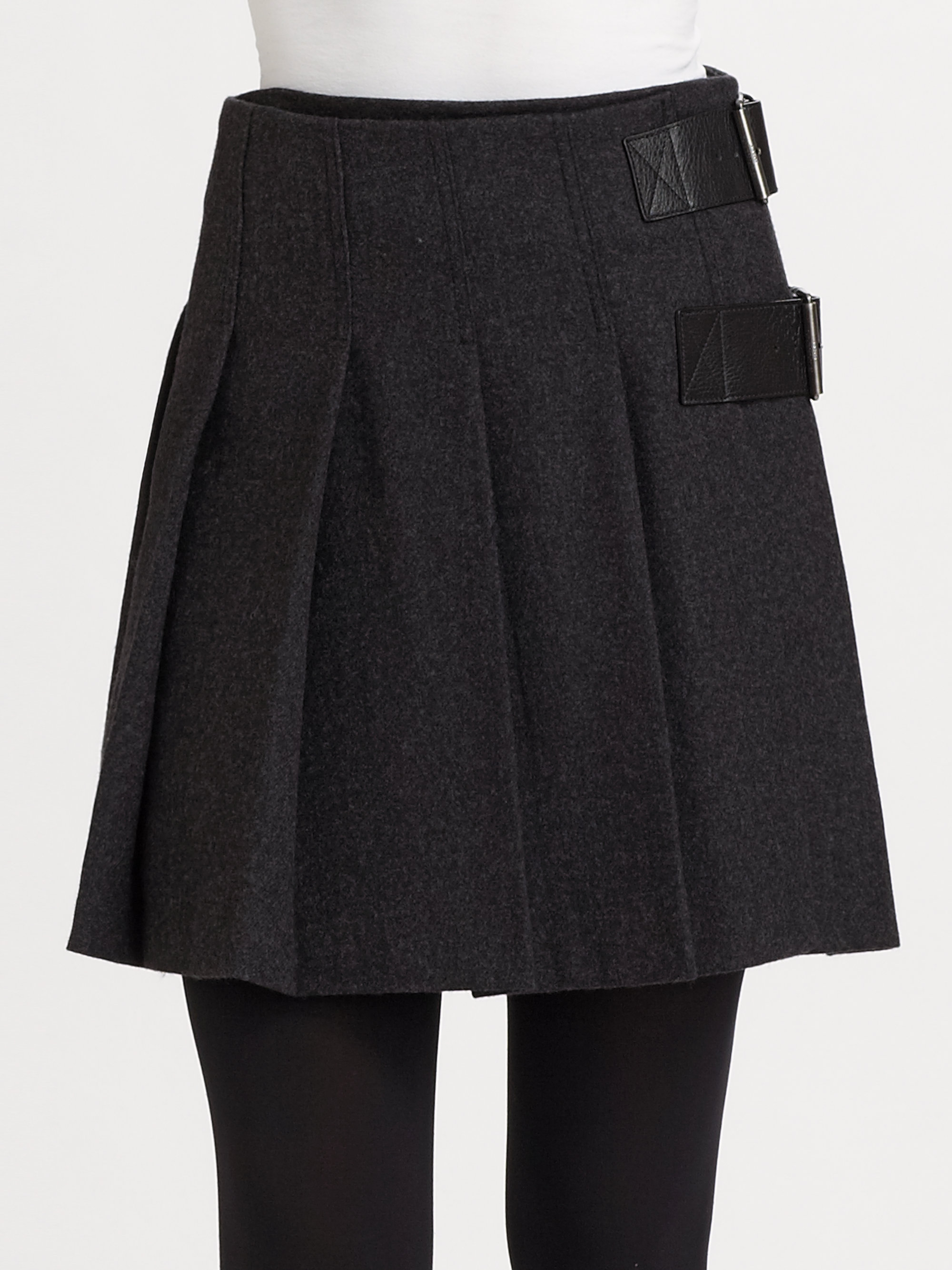 Lyst Burberry Brit Pleated Wool Skirt In Gray