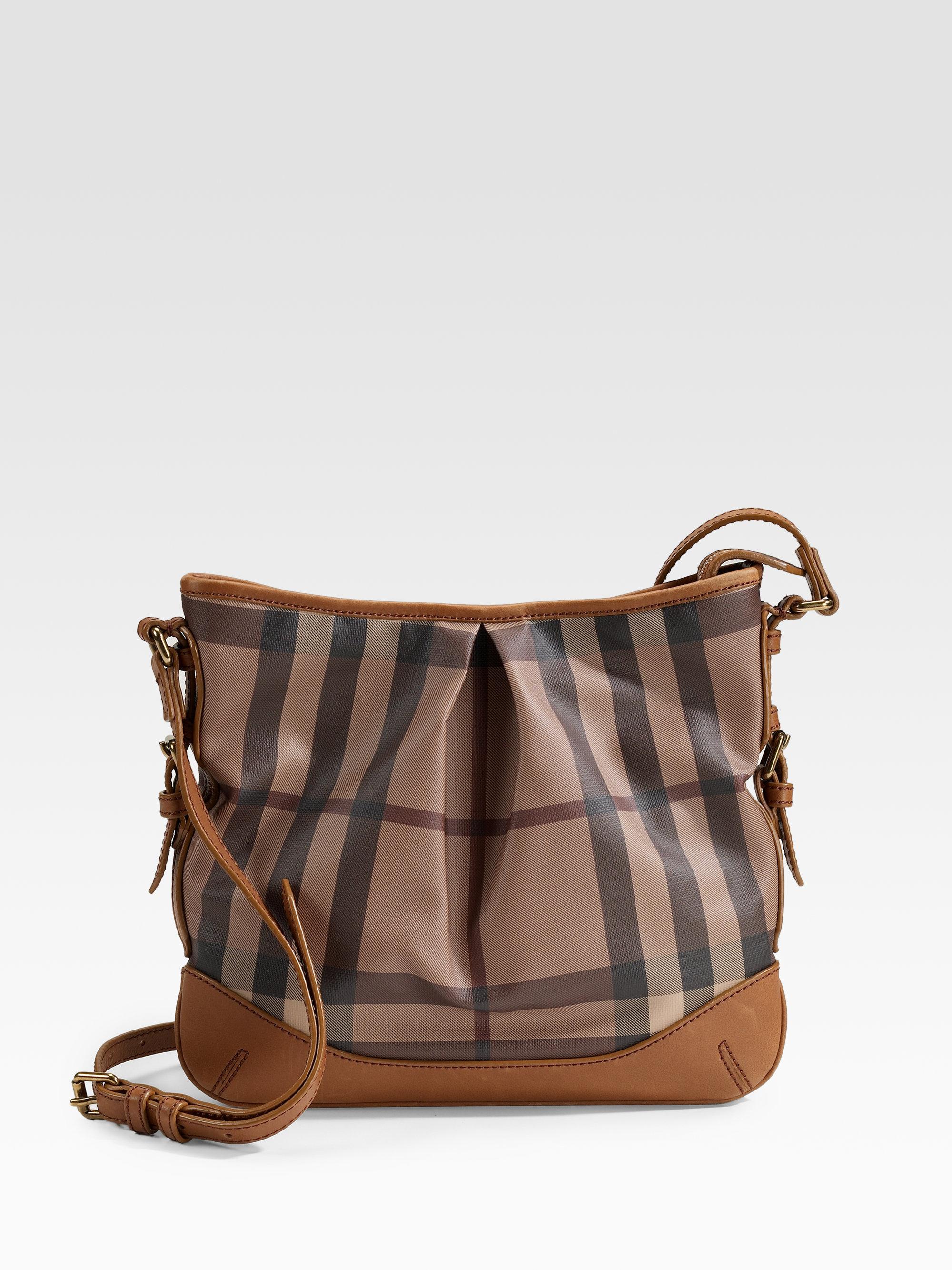 a2d1346b5290 Lyst - Burberry Smoke Check Cross Body Bag in Brown