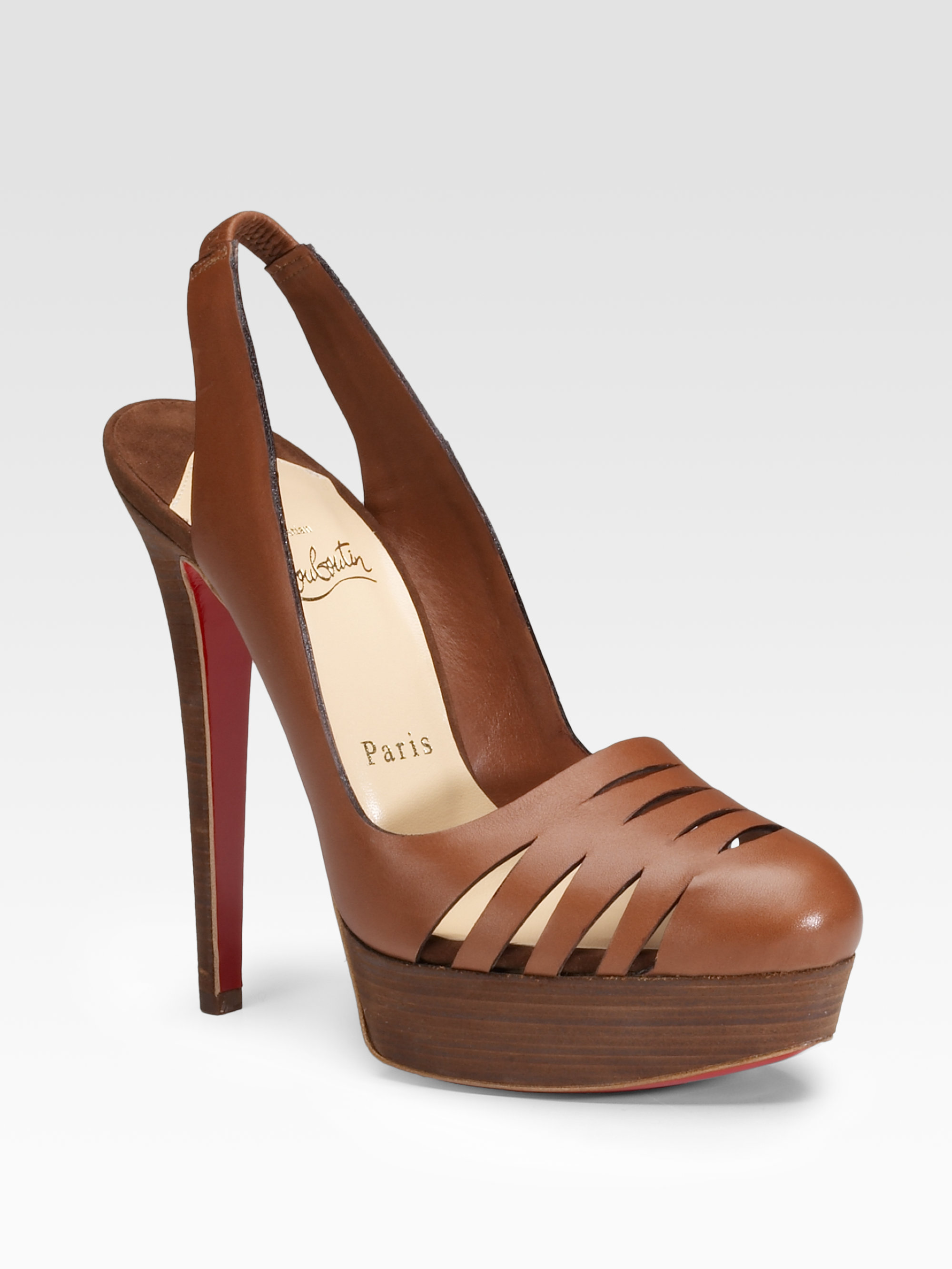 Lyst - Christian Louboutin Lasercut Leather Slingbacks in Brown