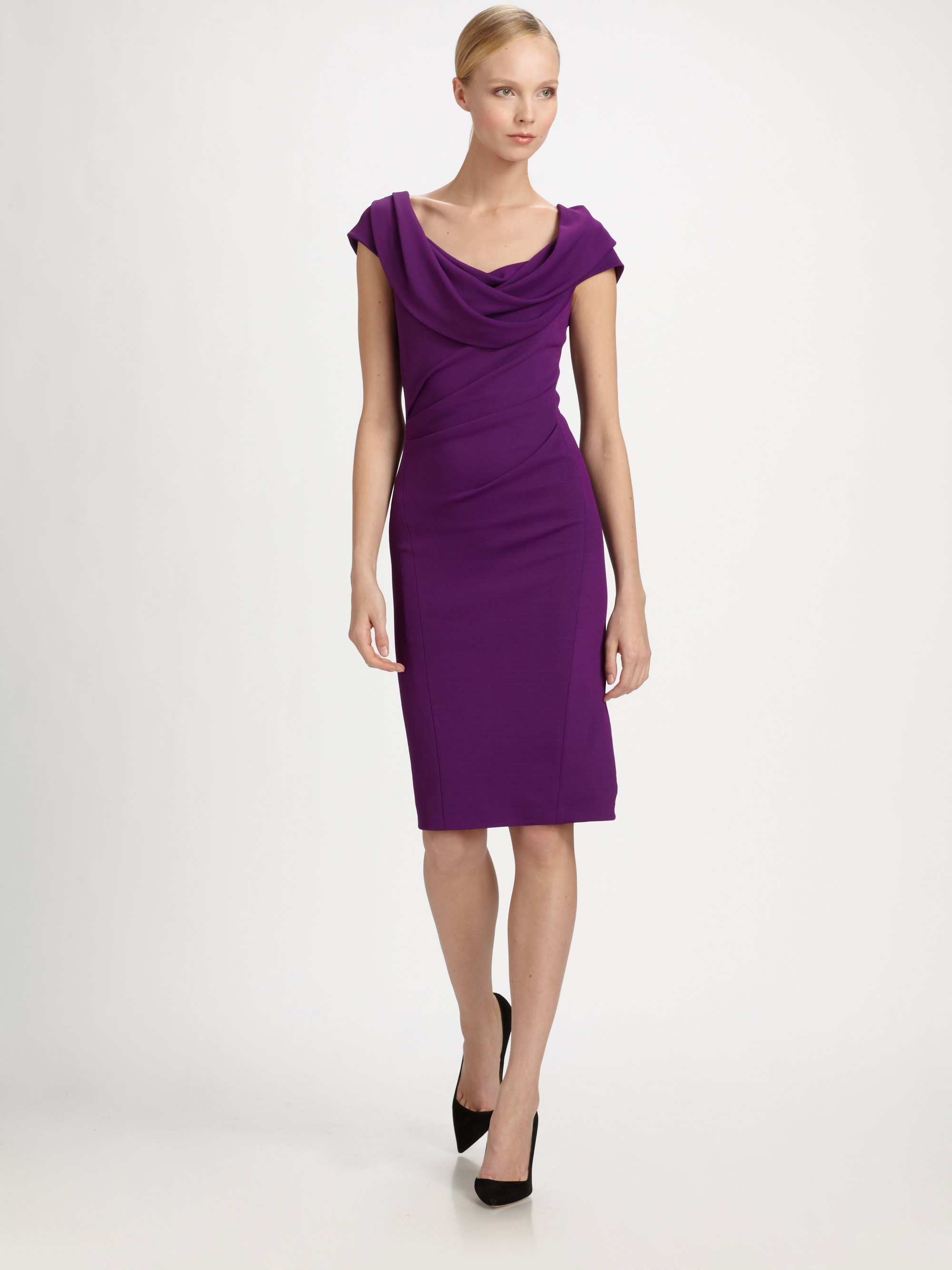Donna karan new york cowl dress in purple violet lyst for Donna karen new york