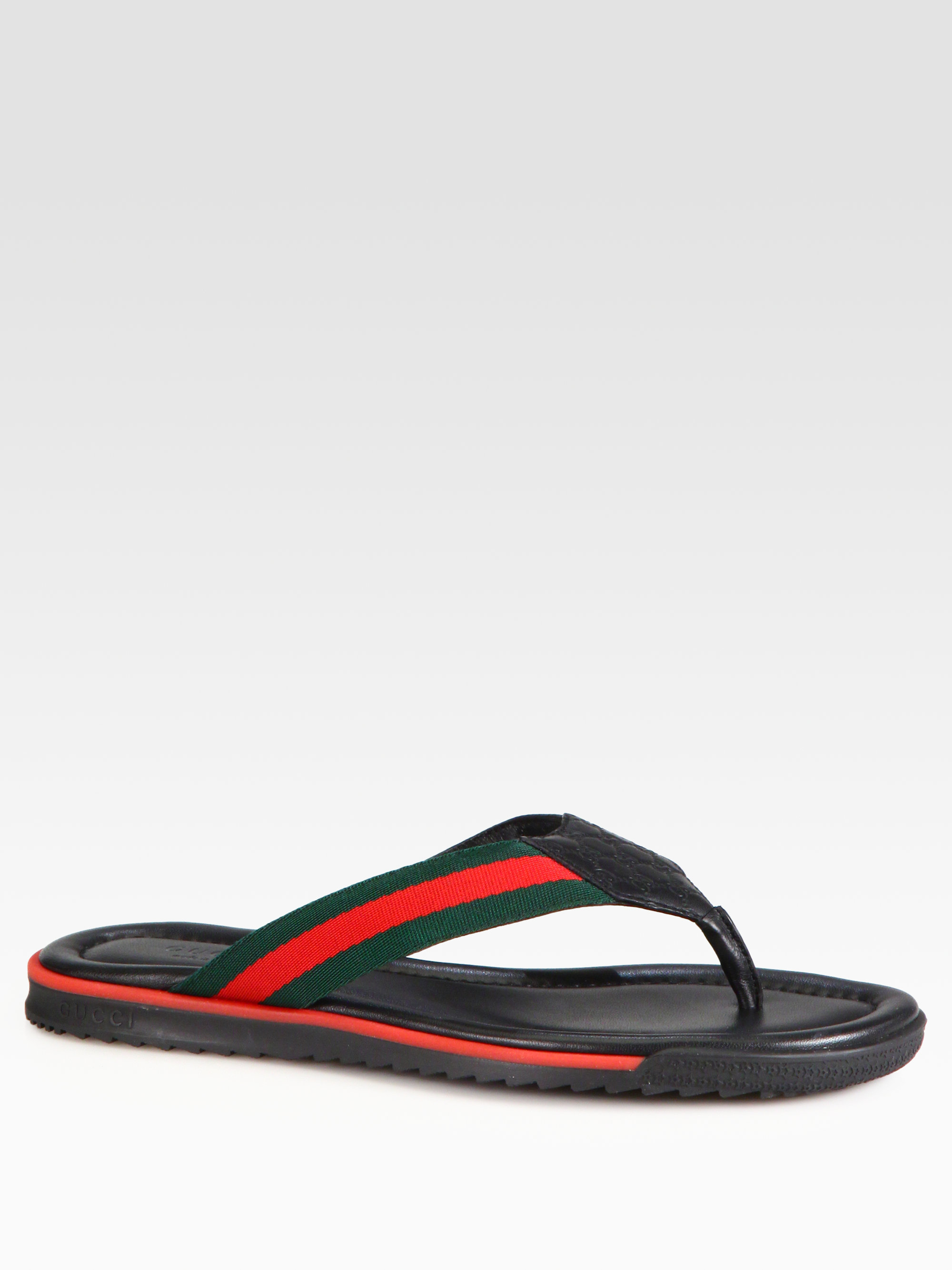 40ba1e1e5368 Lyst - Gucci Gg Leather Thong Sandals in Black